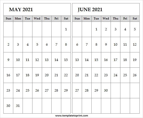 Editable May June 2021 Calendar   Blank 2021 Calendar Pdf Editable June 2021 Calendar