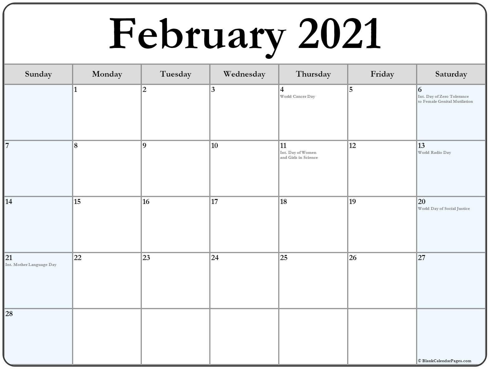 February 2021 Calendar With Holidays National Calendar October 2021