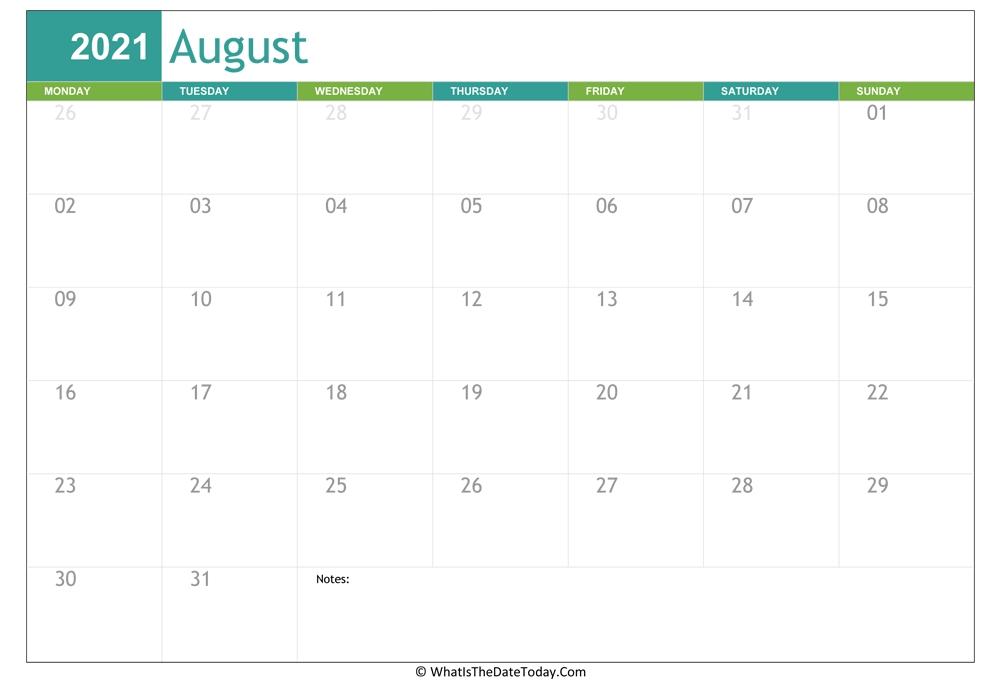 Fillable August Calendar 2021 | Whatisthedatetoday August 2021 Calendar Reading