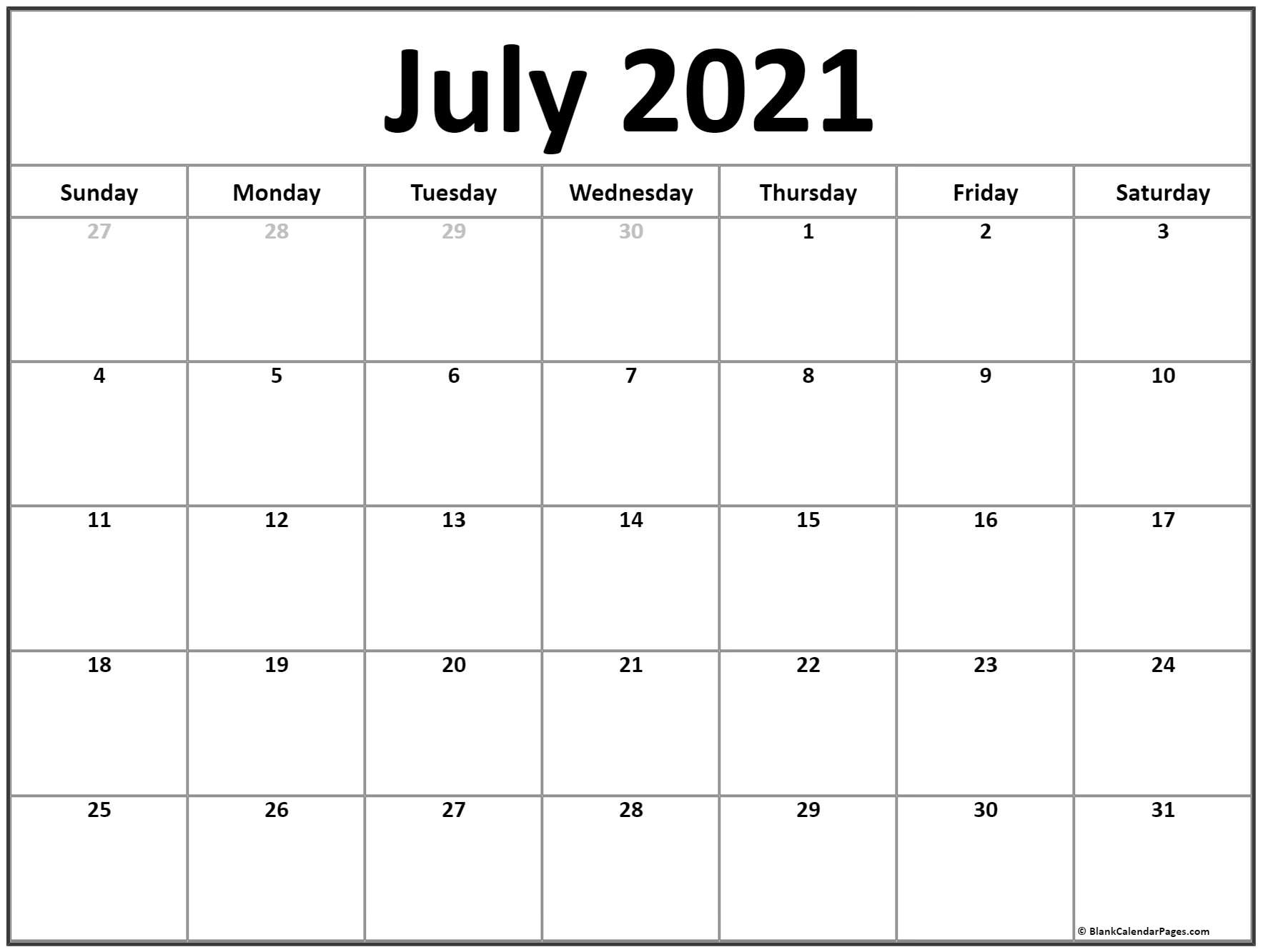 Free 2021 Printable Calendar July Canada Monthly   Month Calendar Printable Calendar For The Month Of July 2021