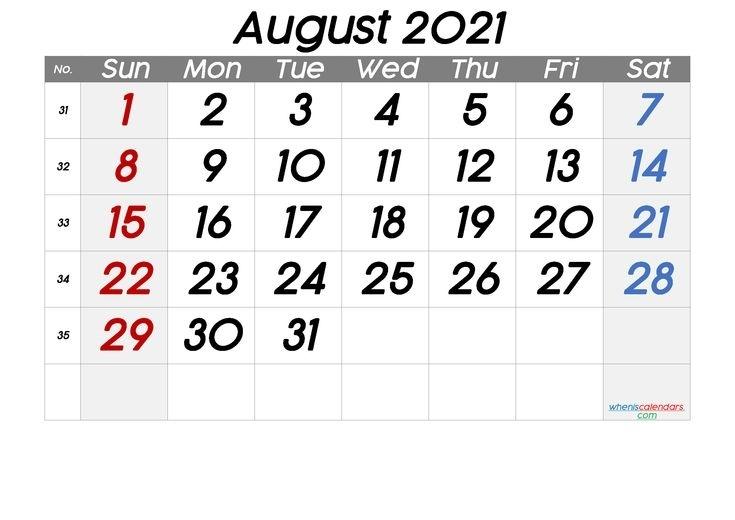 Free August 2021 Calendar [Free Premium] In 2020 | June Calendar Printable, Printable Calendar 25 June 2021 Islamic Calendar