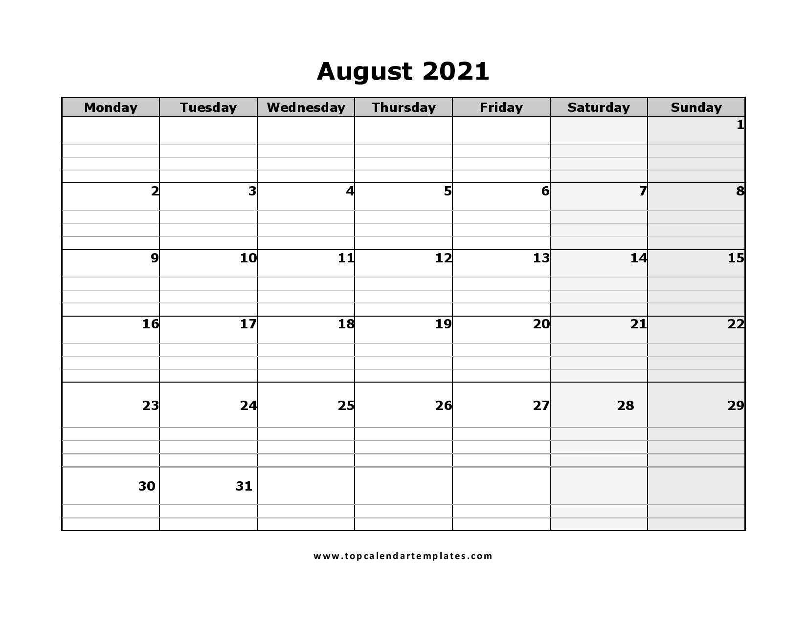 Free August 2021 Calendar Printable - Blank Templates August 2021 Blank Calendar Printable
