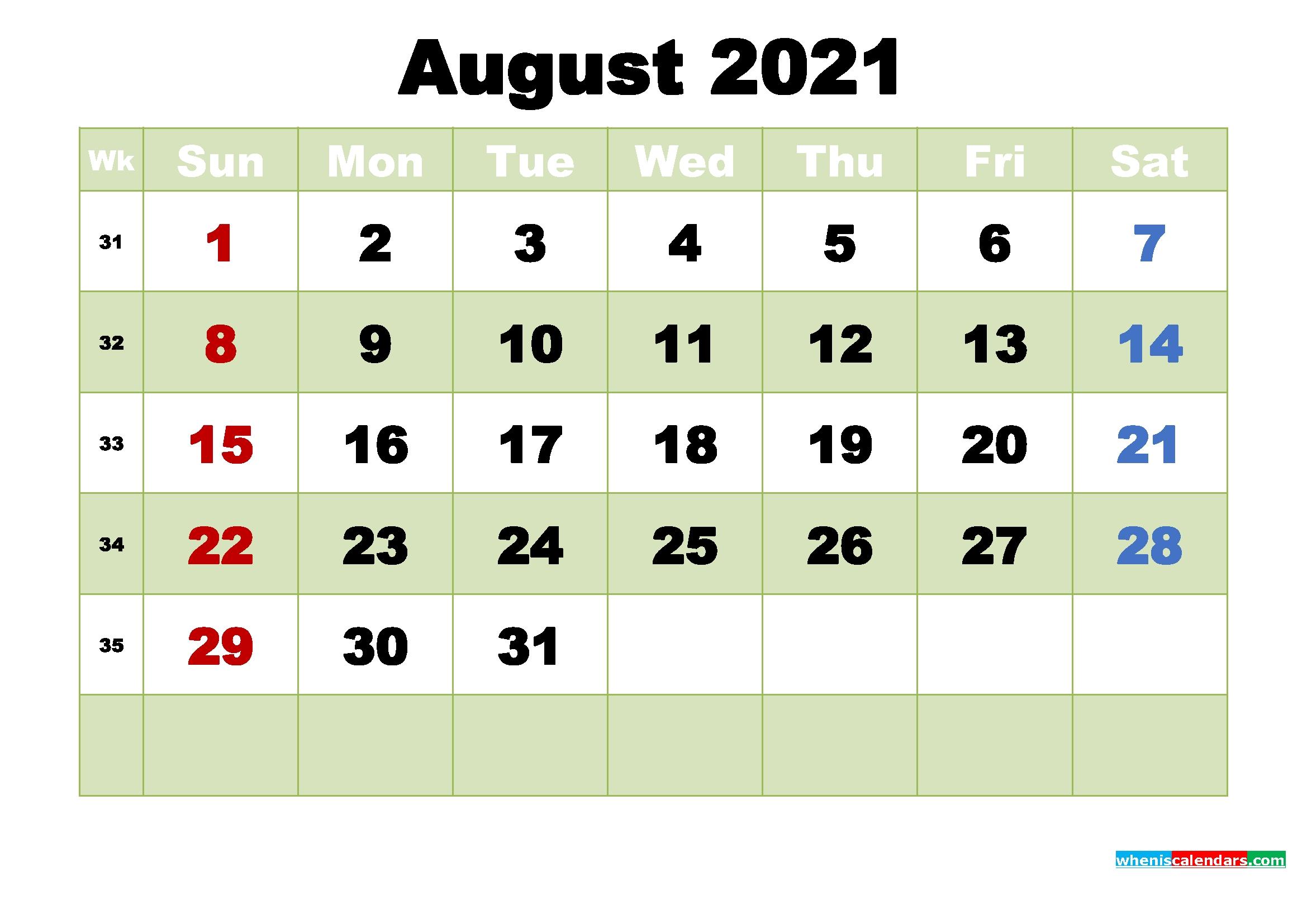 Free August 2021 Printable Calendar Template Word, Pdf | Free Printable 2020 Monthly Calendar August 2021 Calendar With Holidays Usa
