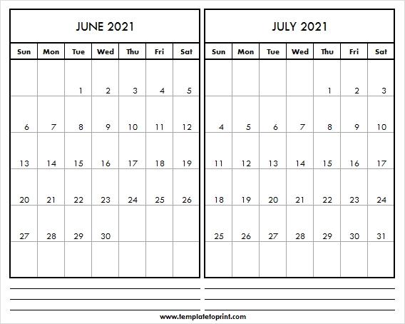 Free Blank Calendar June July 2021   Calendar 2021 Editable Editable June 2021 Calendar