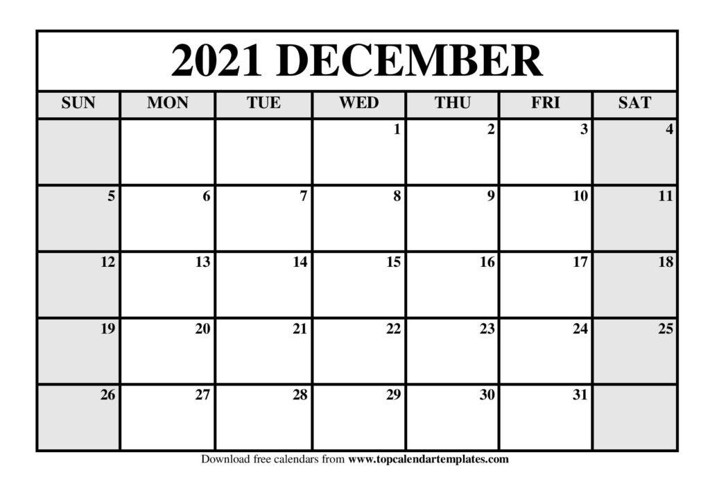 Free December 2021 Calendar Printable - Blank Templates December 2021 Calendar Printable
