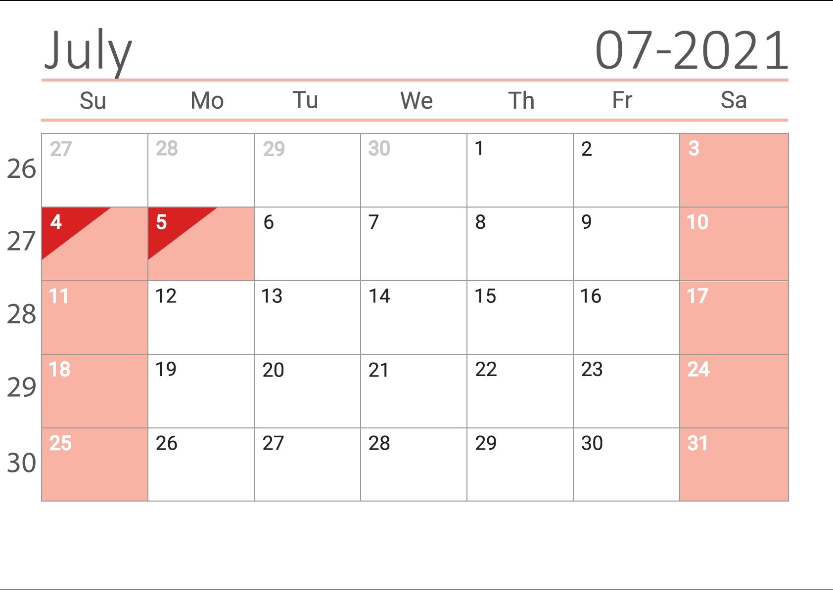 Free Download July 2021 Calendar Us July 2021 Calendar Portrait