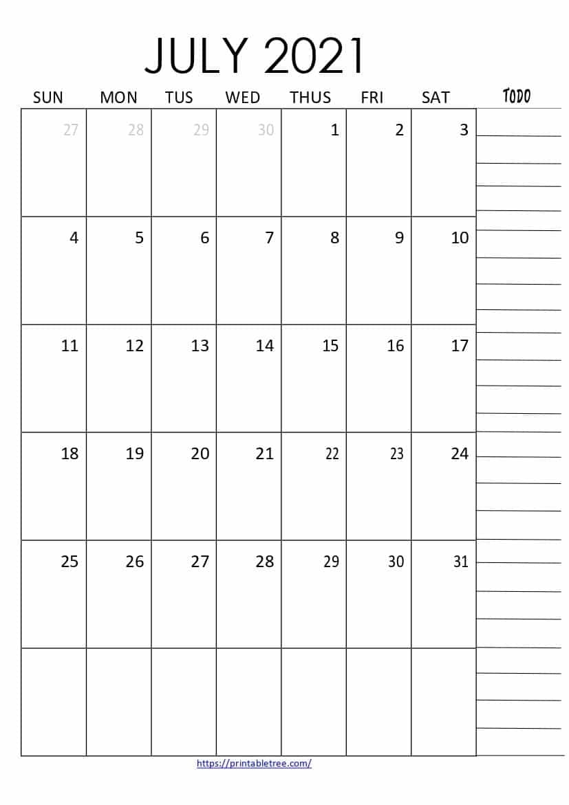 Free Download July 2021 Printable Calendar Templates Pdf Calendar For The Month Of July 2021