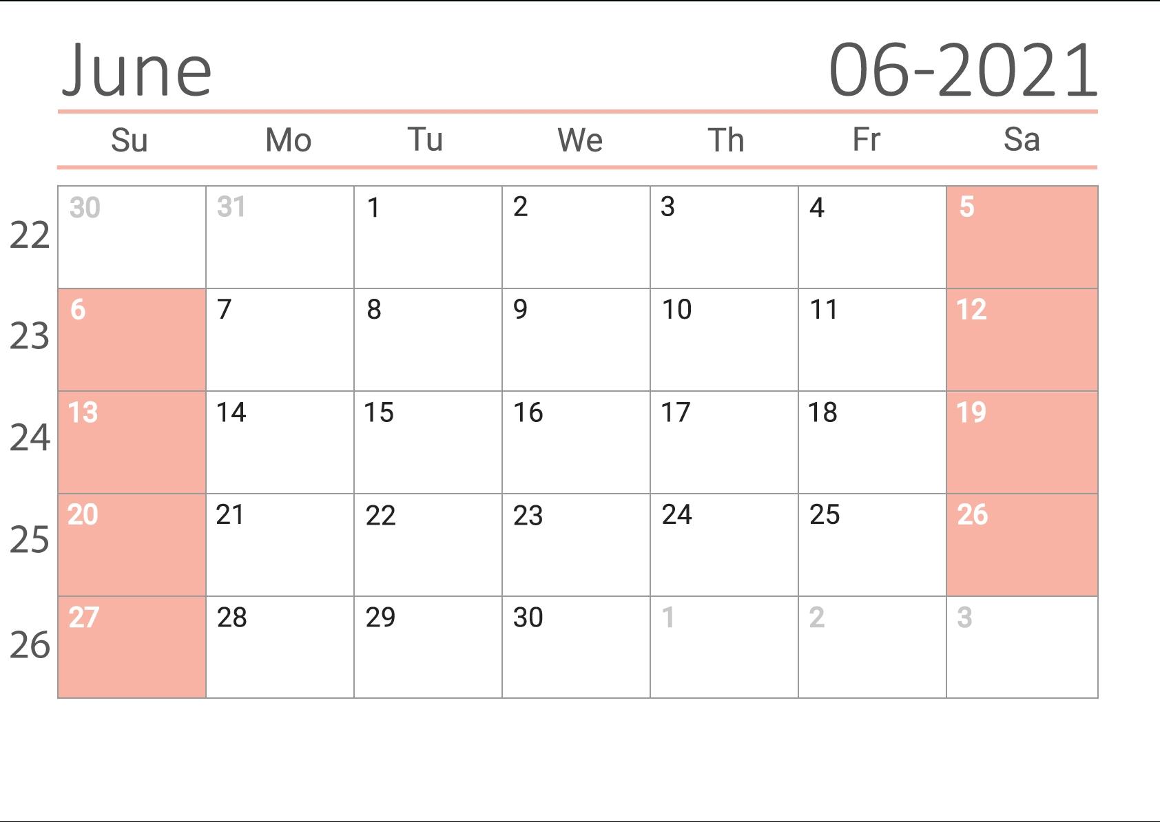 Free Download June 2021 Calendar Us June 2021 Calendar Kuda
