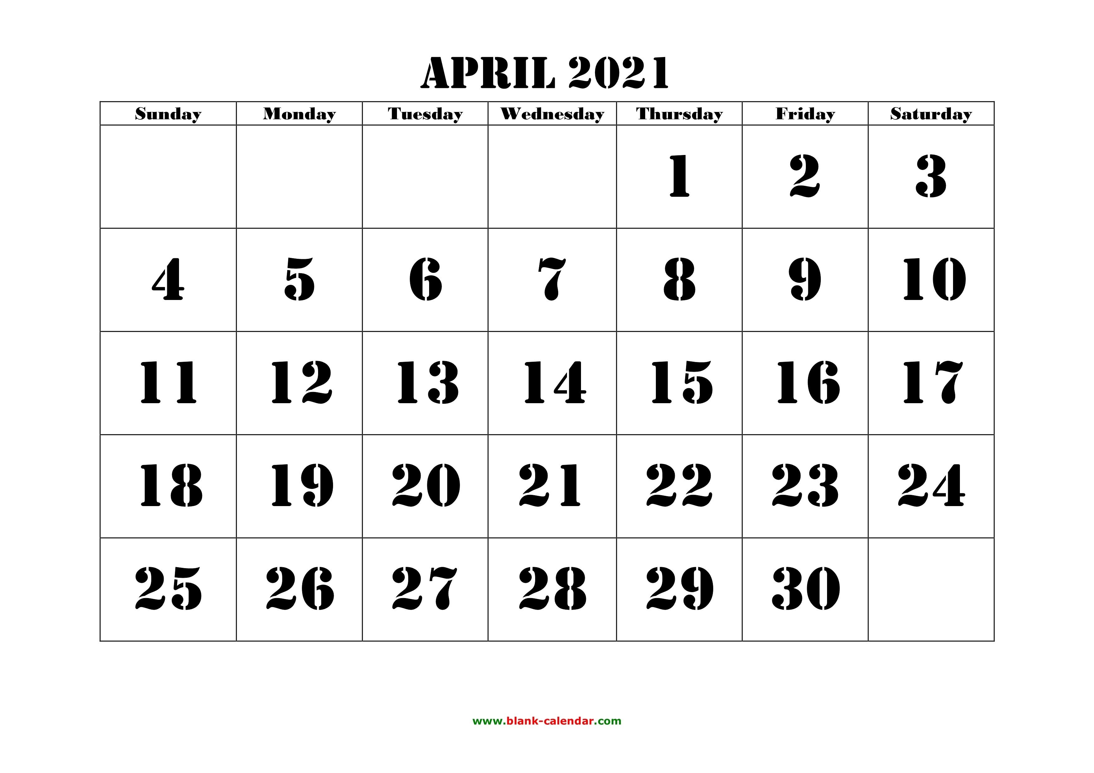 Free Download Printable April 2021 Calendar, Large Font Design , Holidays On Red April Through June 2021 Calendar