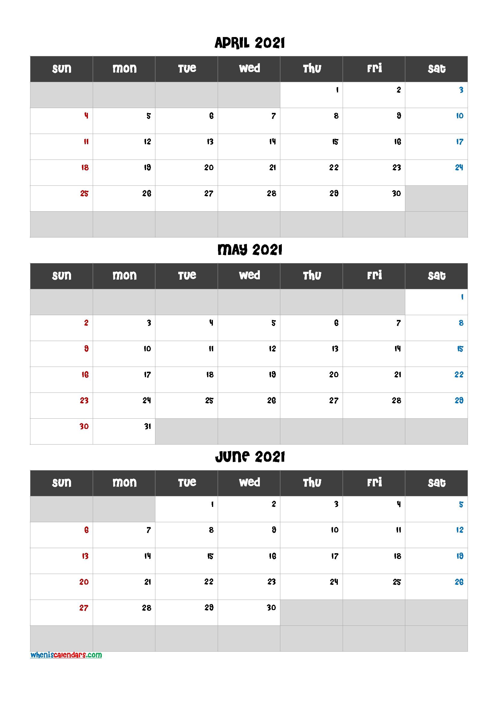 Free January February March 2021 Calendar - Calendraex April Through June 2021 Calendar