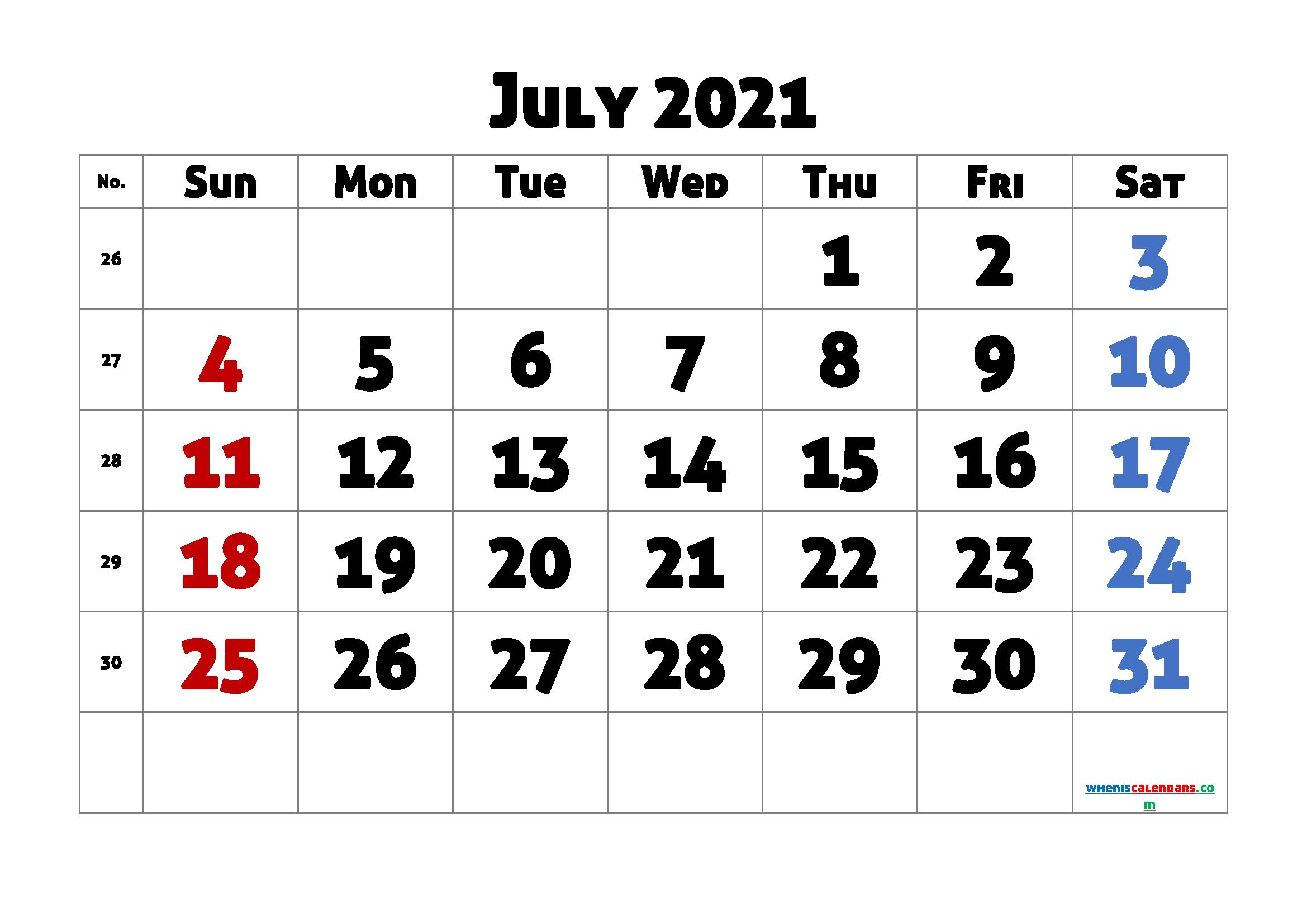 Free July 2021 Calendar Printable   Template M21Allerdisplay4 July 2021 Tithi Calendar
