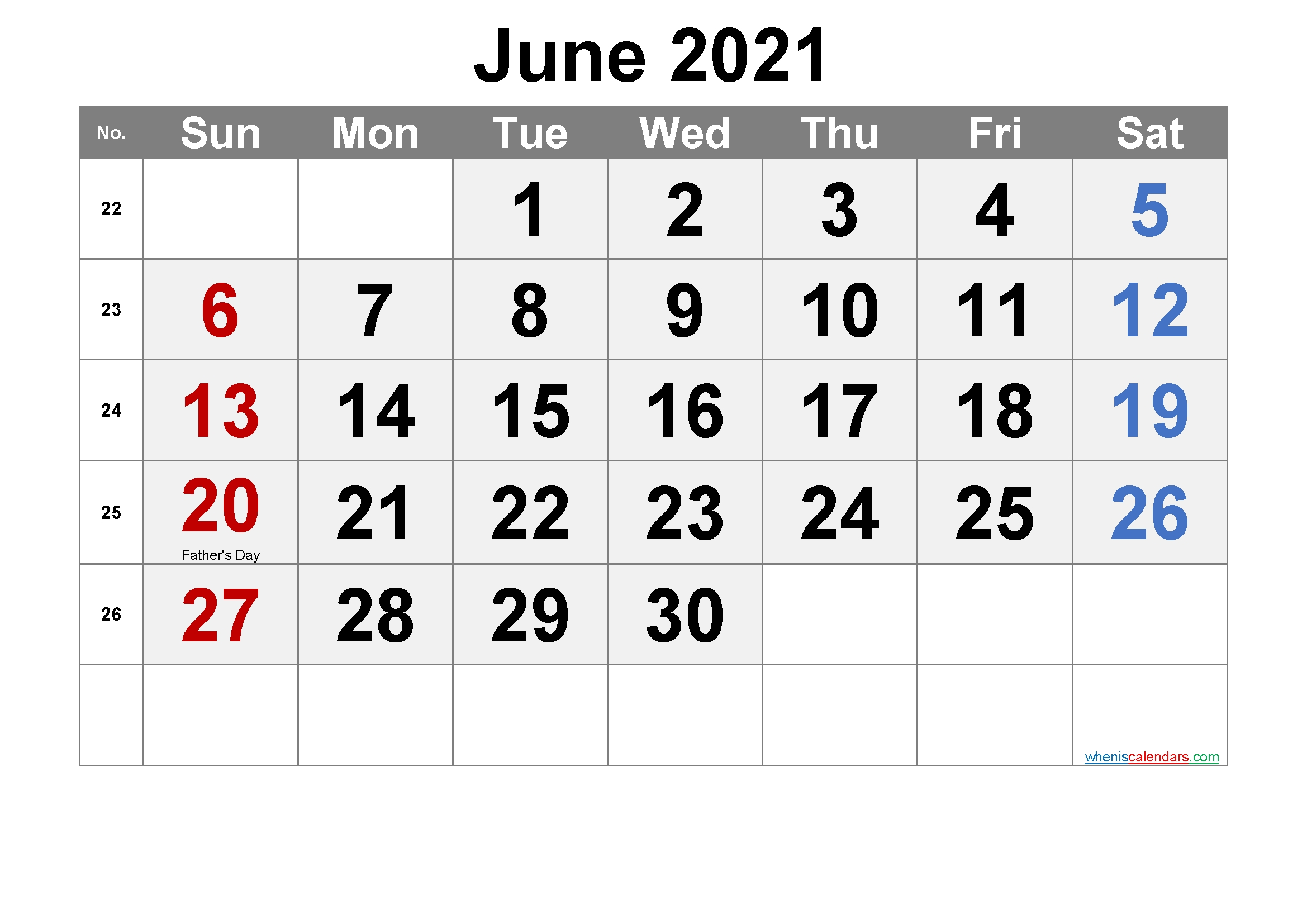 Free June 2021 Calendar Printable June 2021 Calendar With Holidays Printable