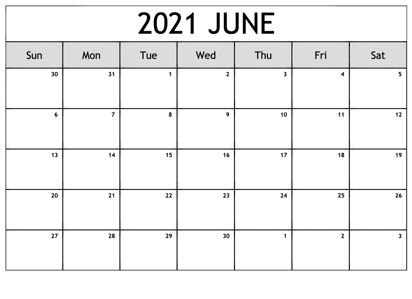 Free June 2021 Calendar With Holidays - Thecalendarpedia June 2021 Calendar With Holidays Printable