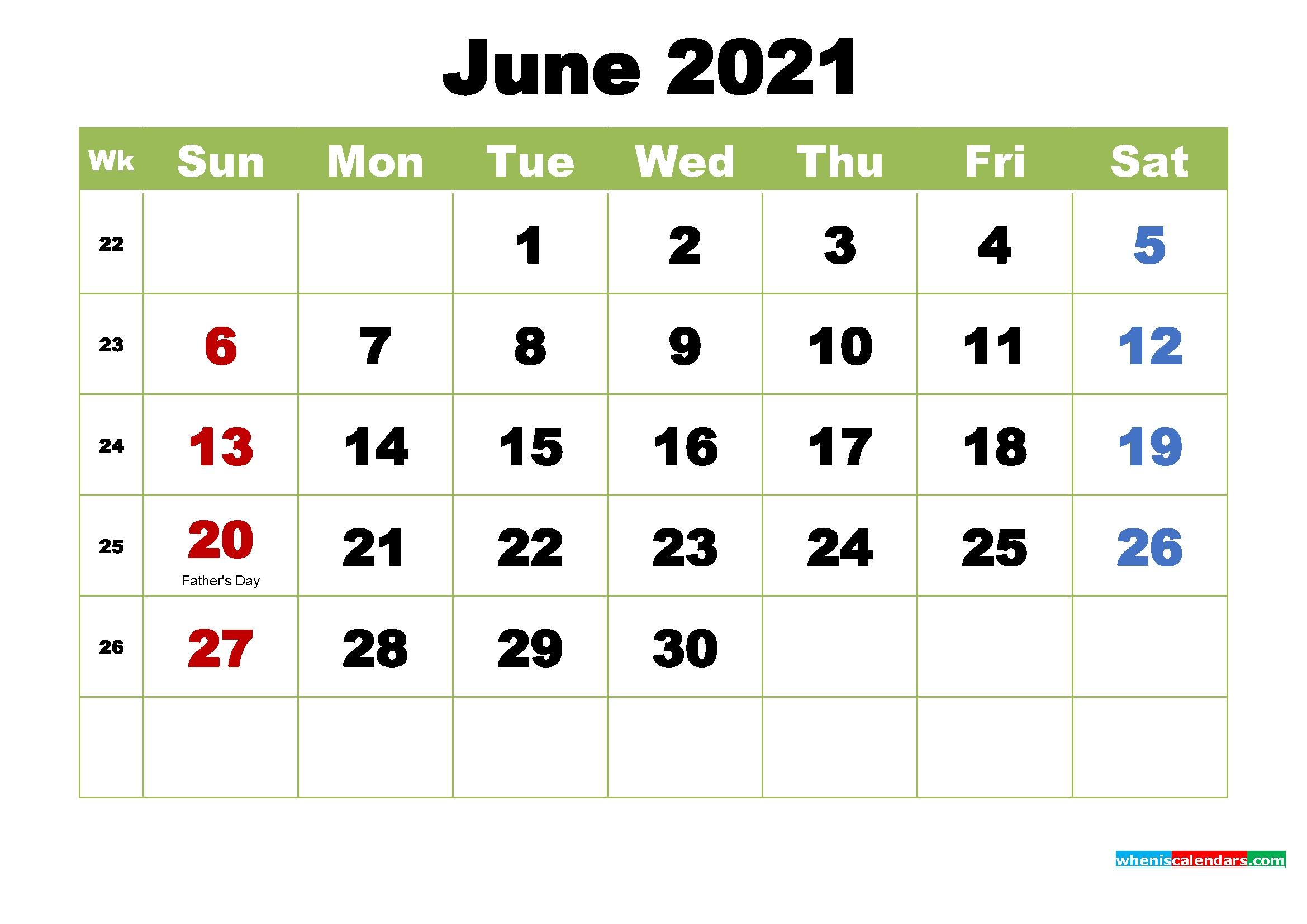 Free June 2021 Printable Calendar With Holidays June 2021 Calendar Printable