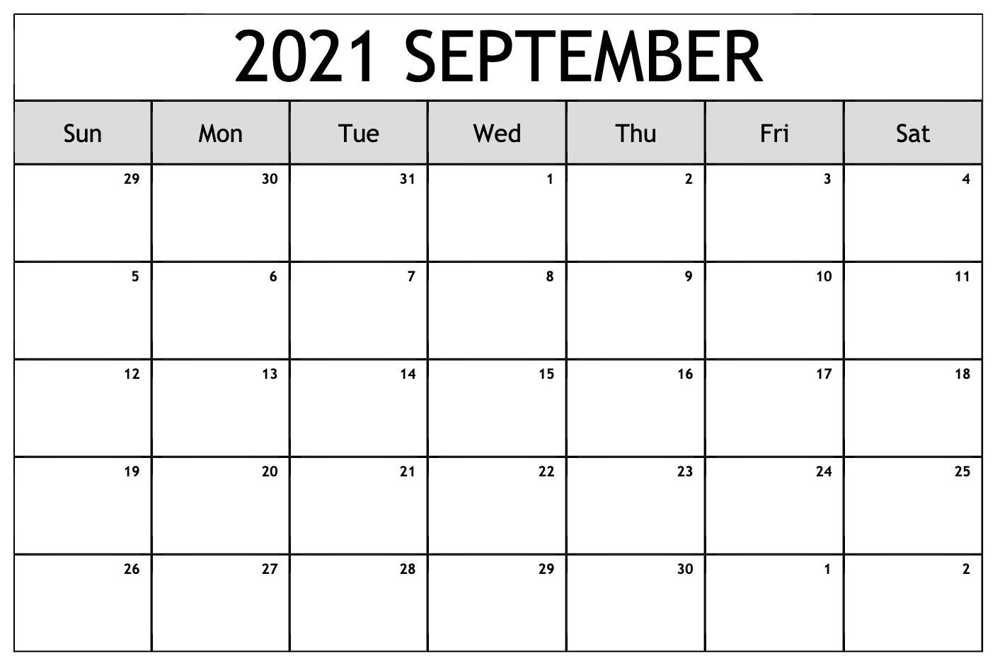 Free Monthly 2021 Printable Calendar Template Printable September 2021 Calendar