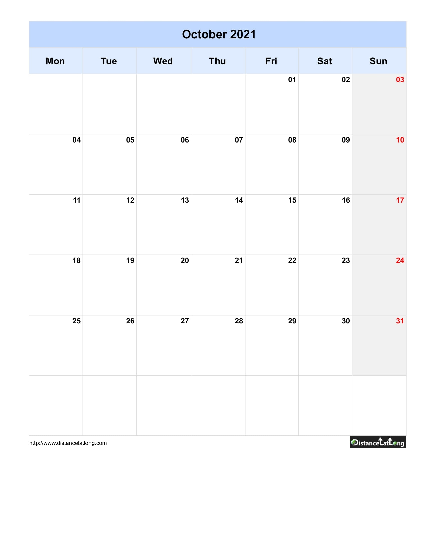 Free Monthly Printable Blank Calendar For October 2021 Monday To Sunday August 2021 Calendar Nz