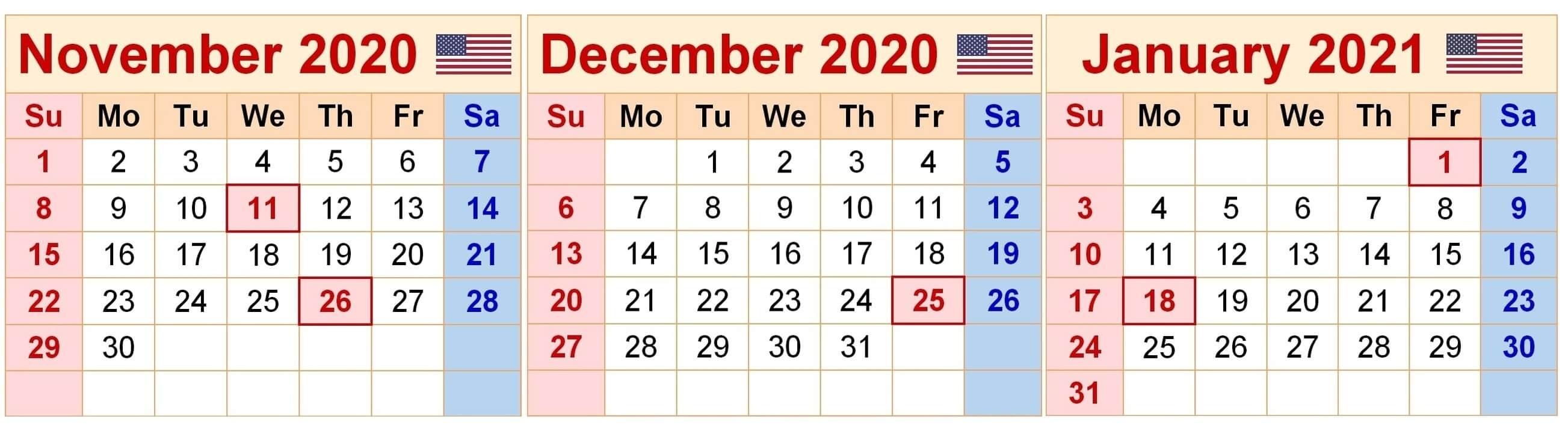 Free November 2020 To January 2021 Calendar For Planning - Set Your Plan & Tasks With Best Ideas November December 2020 January 2021 Calendar