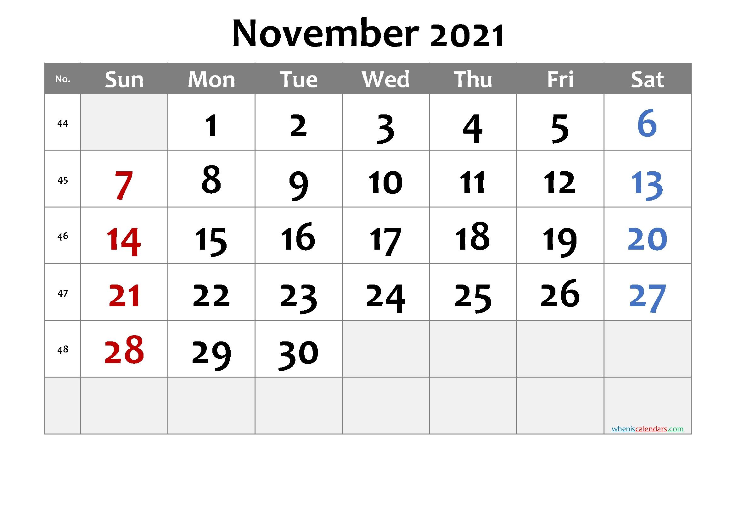 Free November 2021 Calendar - 6 Templates | Free Printable 2020 Calendar With Holidays Free November 2021 Calendar