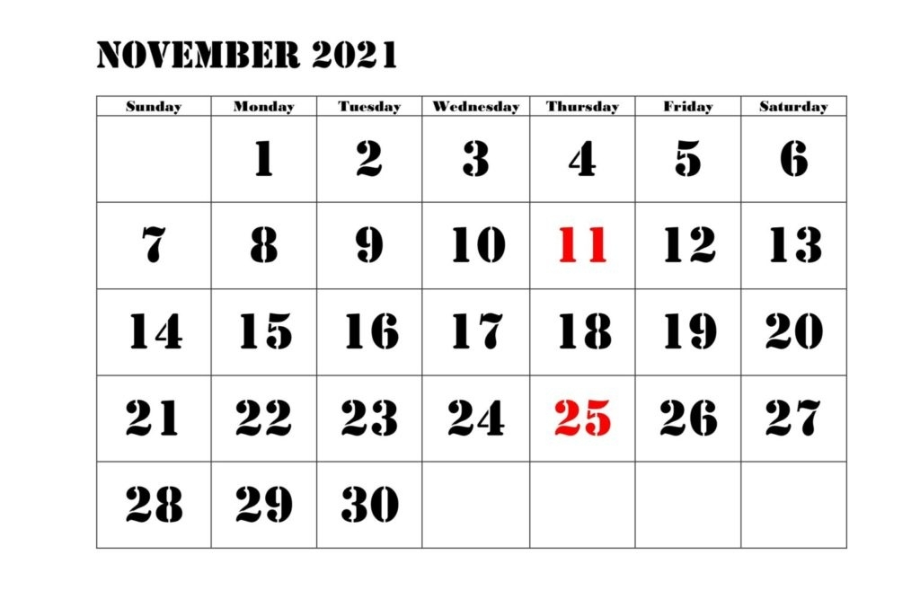 Free November 2021 Calendar Printable - Blank Templates Free Printable November 2021 Calendar With Holidays