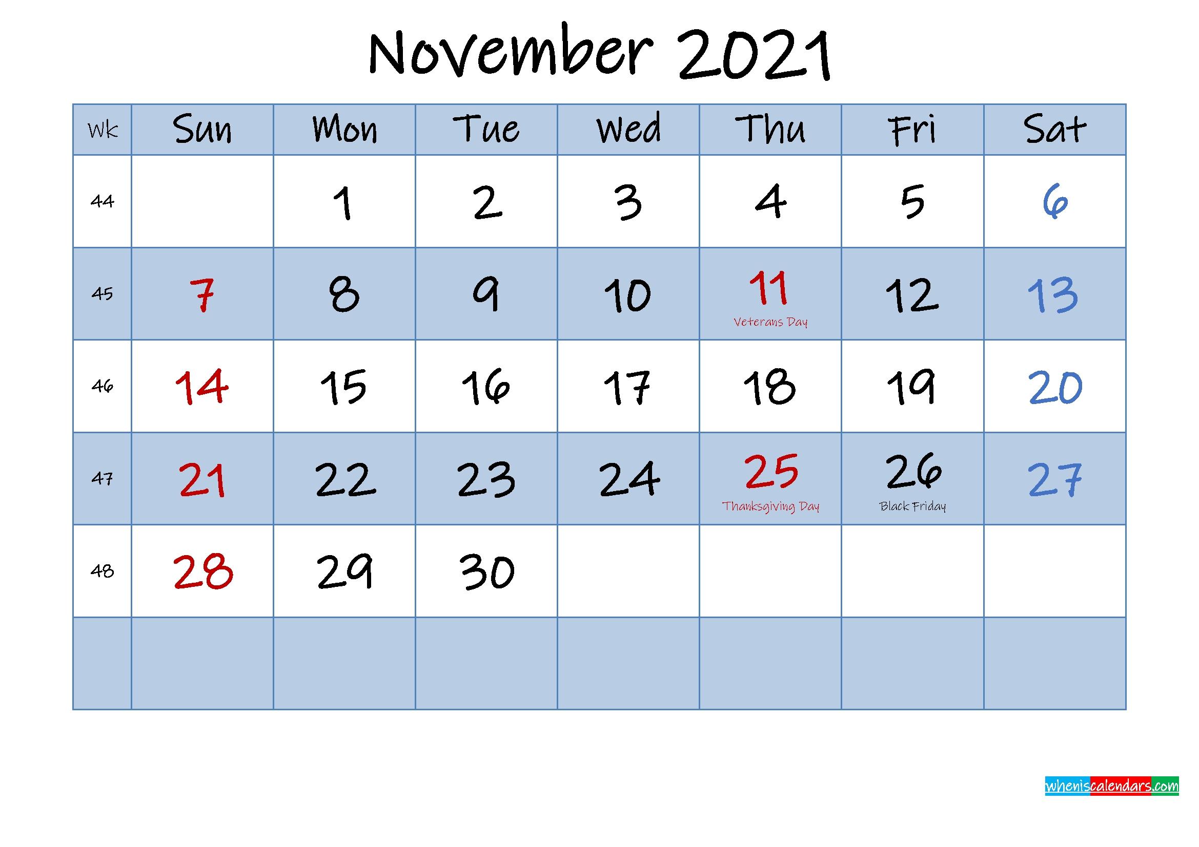 Free November 2021 Monthly Calendar Pdf - Template No.ink21M431 | Free Printable 2020 Calendar Free Printable November 2021 Calendar With Holidays
