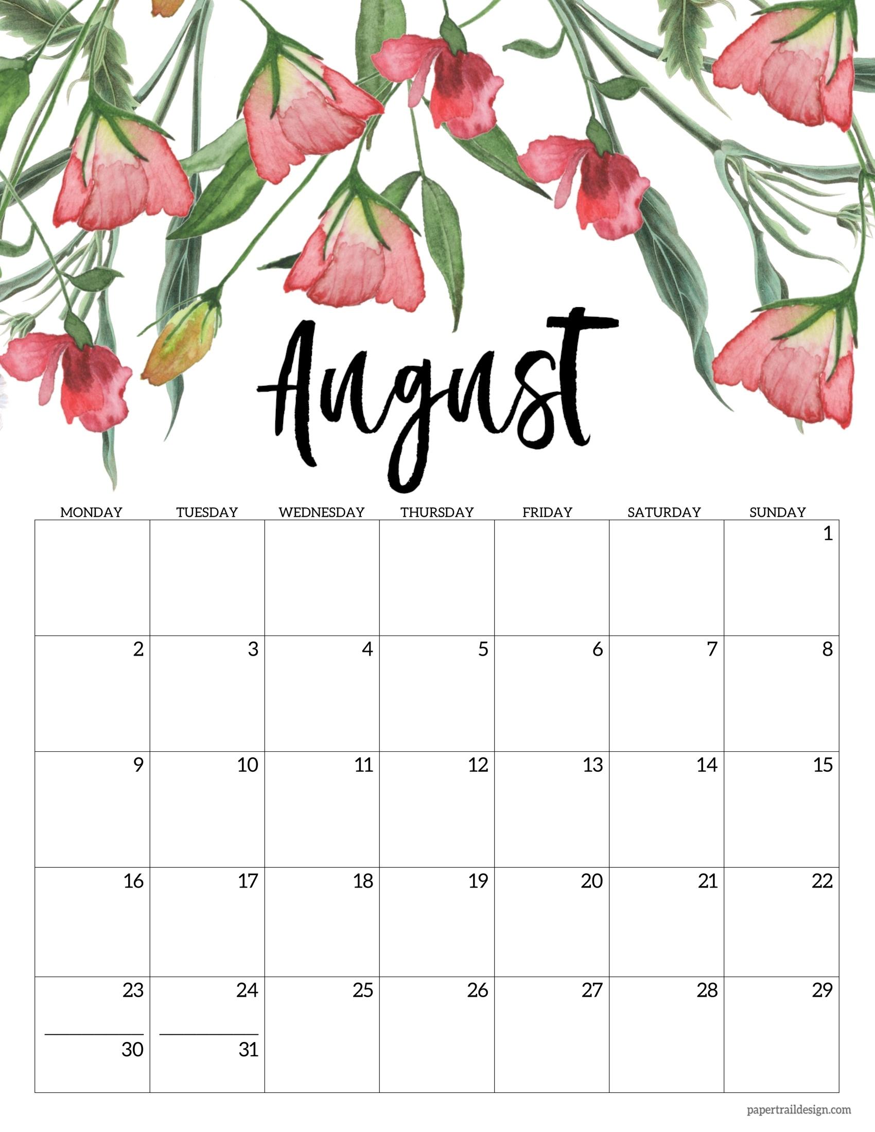 Free Printable 2021 Floral Calendar - Monday Start   Paper Trail Design Print April May June 2021 Calendar