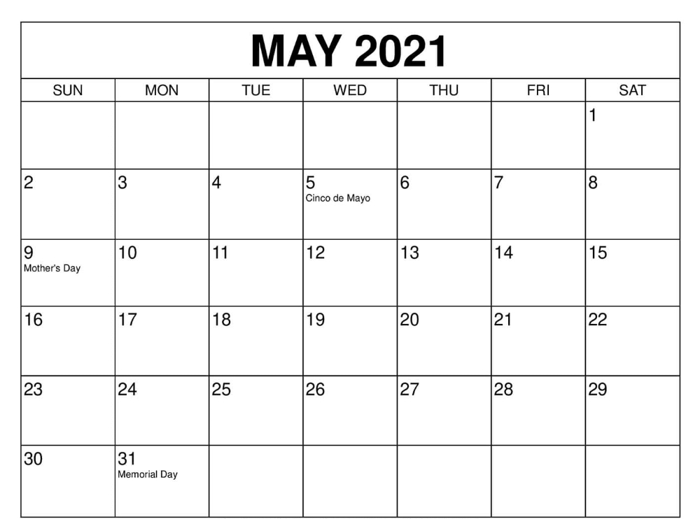 Free Printable 2021 Monthly Calendar Templates Blank April May June 2021 Calendar