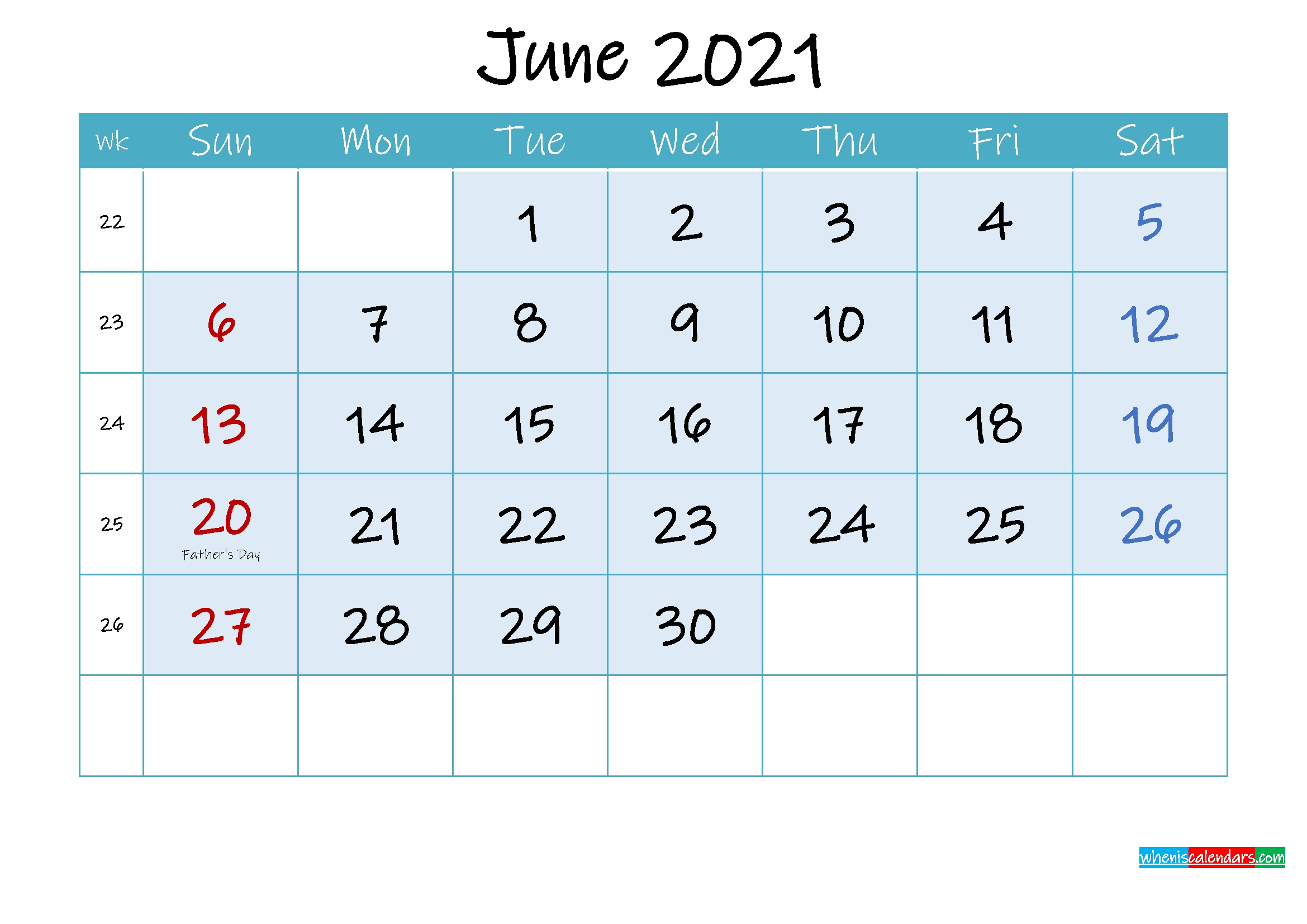 Free Printable 2021 Monthly Calendar With Holidays June 2021 Calendar With Holidays Printable