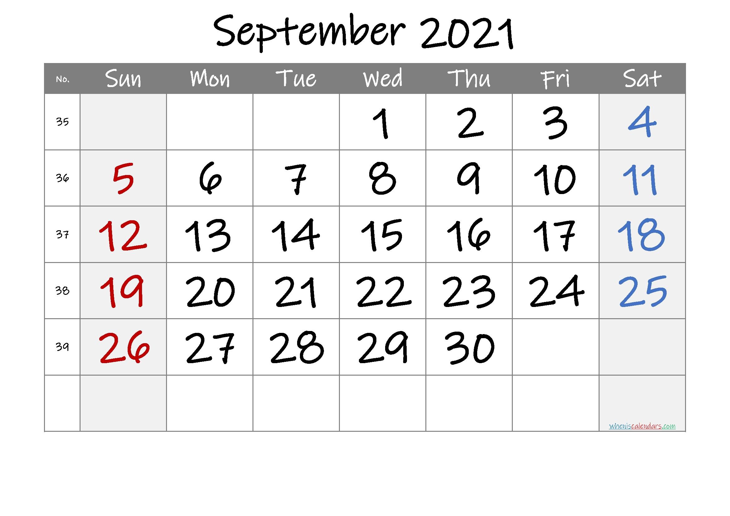 Free Printable 2021 September Calendar Printable September 2021 Calendar