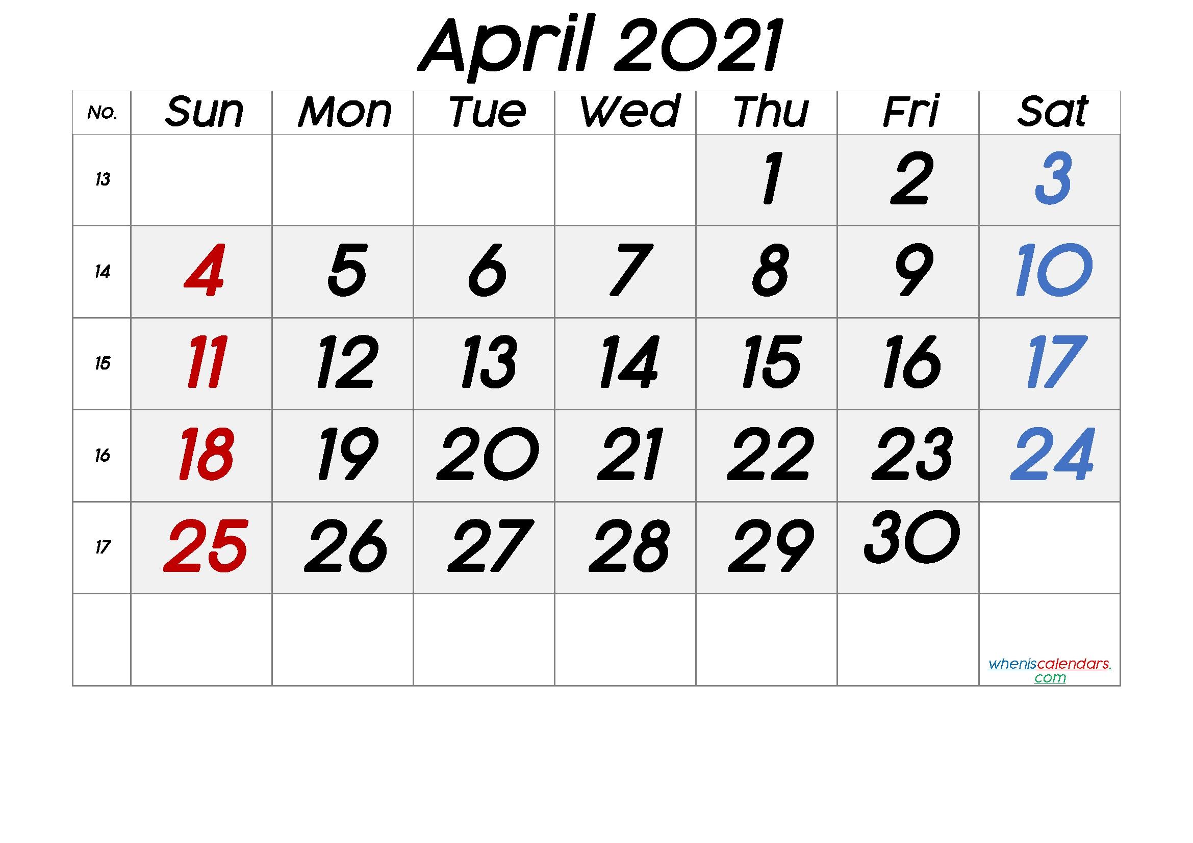 Free Printable April 2021 Calendar [Free Premium] - Free Printable 2020 Monthly Calendar With Calendar November 2020 To April 2021