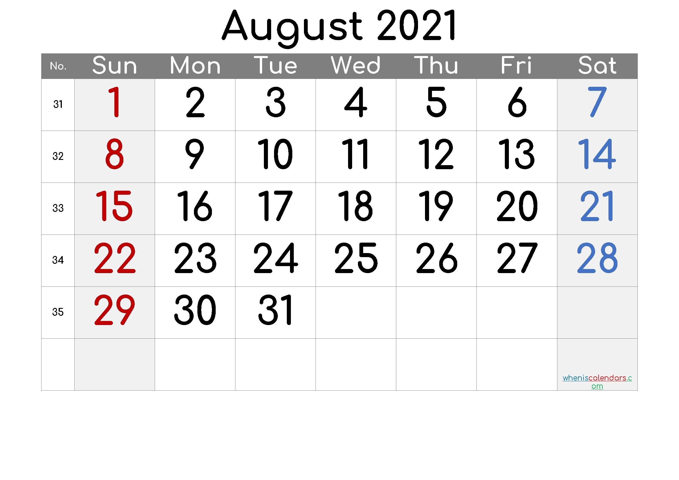 Free Printable August 2021 Calendar - 6 Templates | Free Printable 2020 Monthly Calendar With August 2021 Blank Calendar Printable
