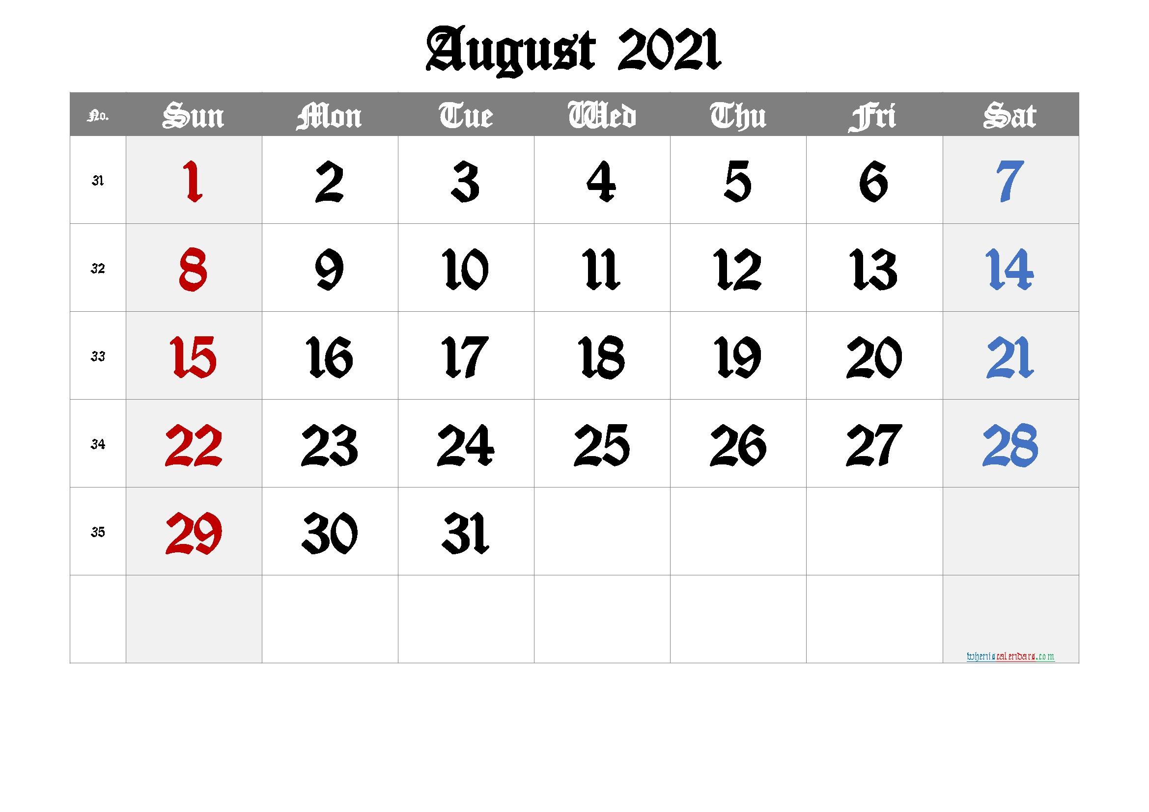 Free Printable August 2021 Calendar - 6 Templates | Free Printable 2020 Monthly Calendar With August 2021 Calendar With Holidays Usa