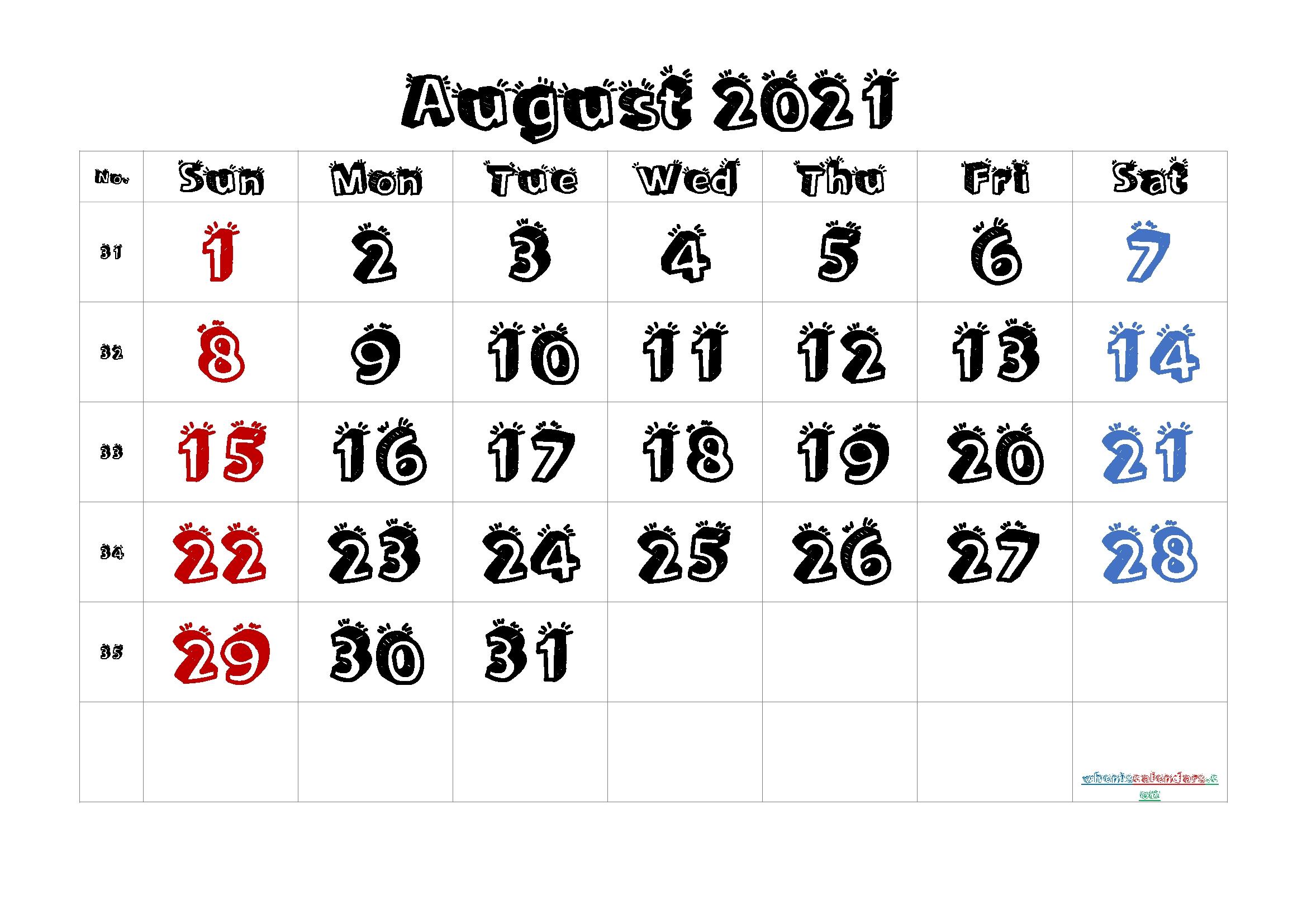 Free Printable August 2021 Calendar August 2021 Calendar With Holidays Usa