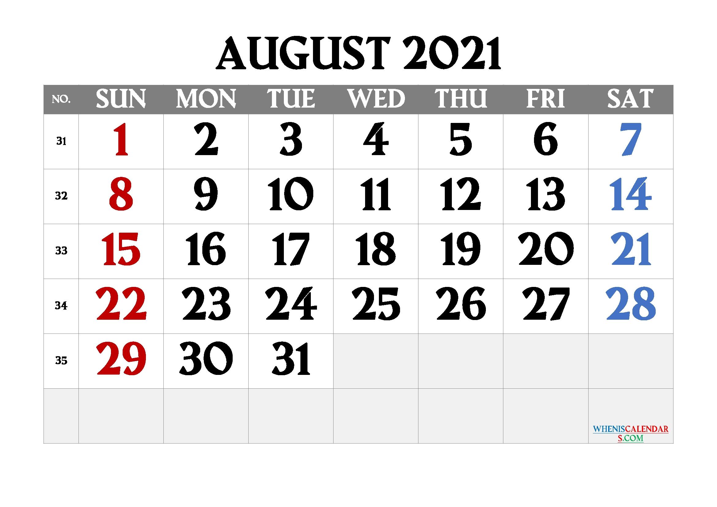 Free Printable August 2021 Calendar August 2021 Jewish Calendar