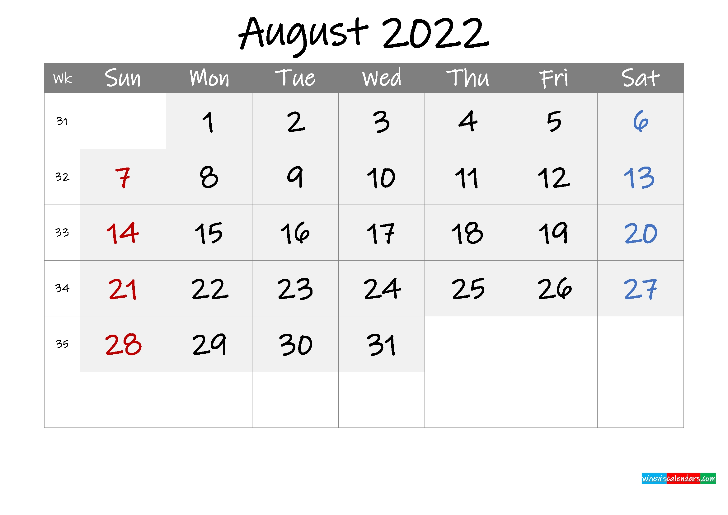 Free Printable August 2021 Calendar With Holidays August 2021 Calendar With Holidays Usa