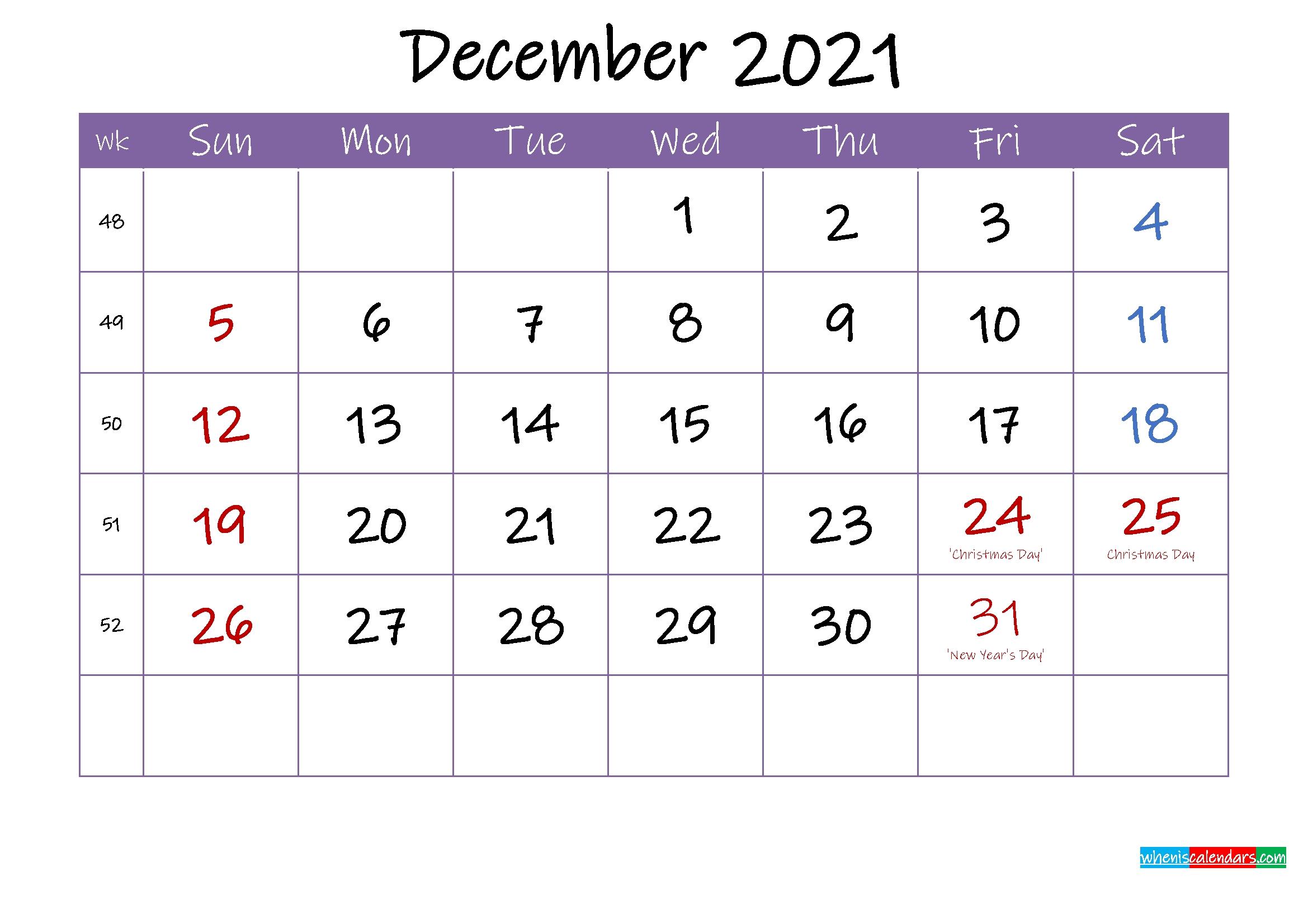 Free Printable December 2021 Calendar With Holidays December 2021 Calendar Printable