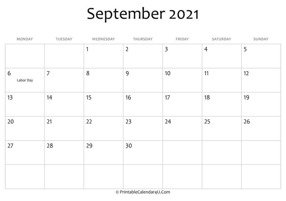 Free Printable Editable 2021 Calendar With Holidays September   Printable Calendar September 2021 Lunar Calendar