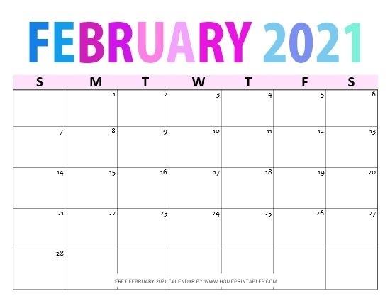 Free Printable February 2021 Calendar In Pdf: 11 Best Designs! In 2020   2021 Calendar, Calendar October 2020 To February 2021 Calendar