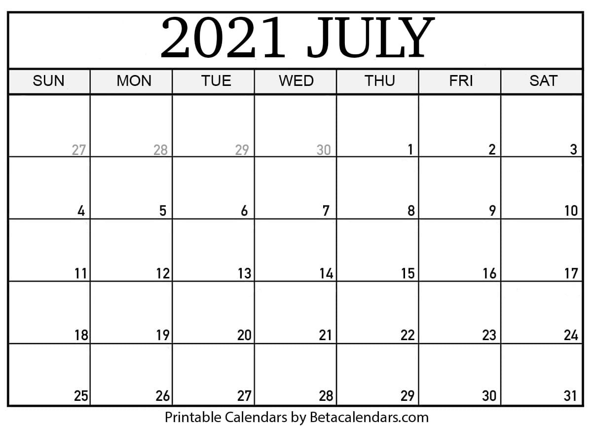 Free Printable July 2021 Calendar July 2021 Calendar Pdf Download
