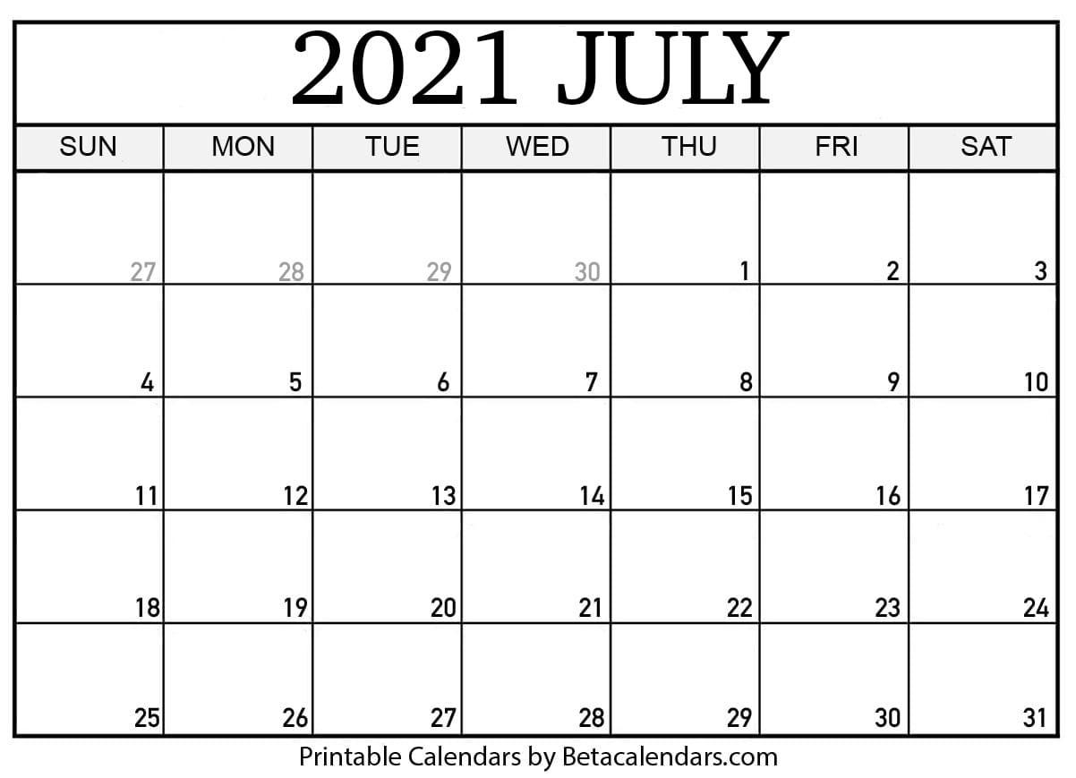 Free Printable July 2021 Calendar July 2021 Calendar Word