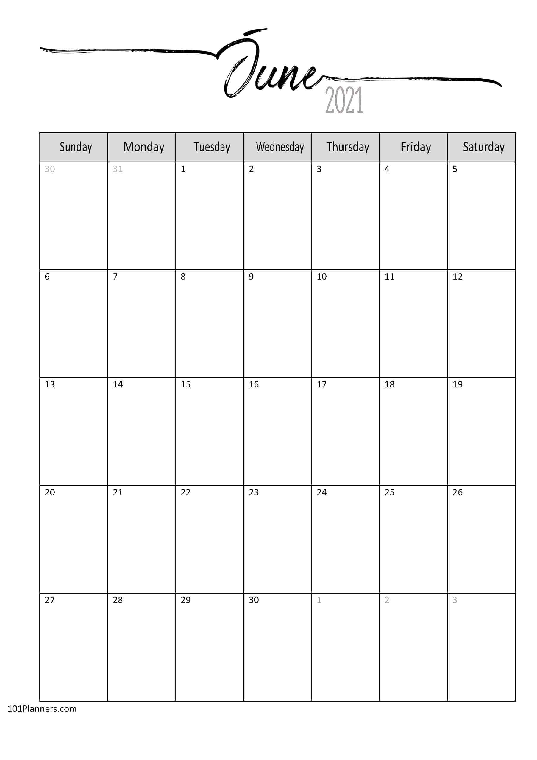 Free Printable June 2021 Calendar | Customize Online June 2021 Calendar In Excel