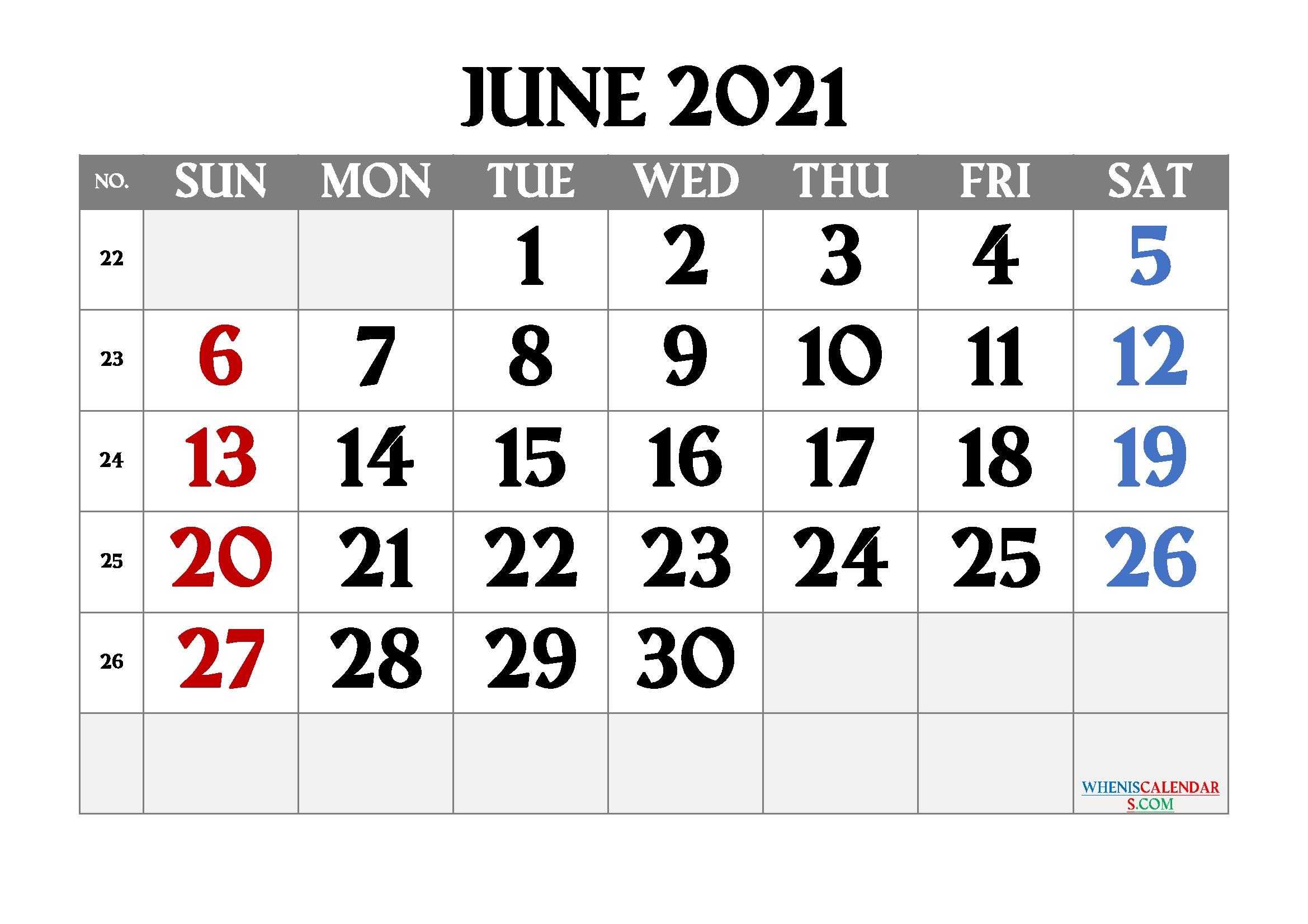 Free Printable June 2021 Calendar June 2021 Calendar Printable