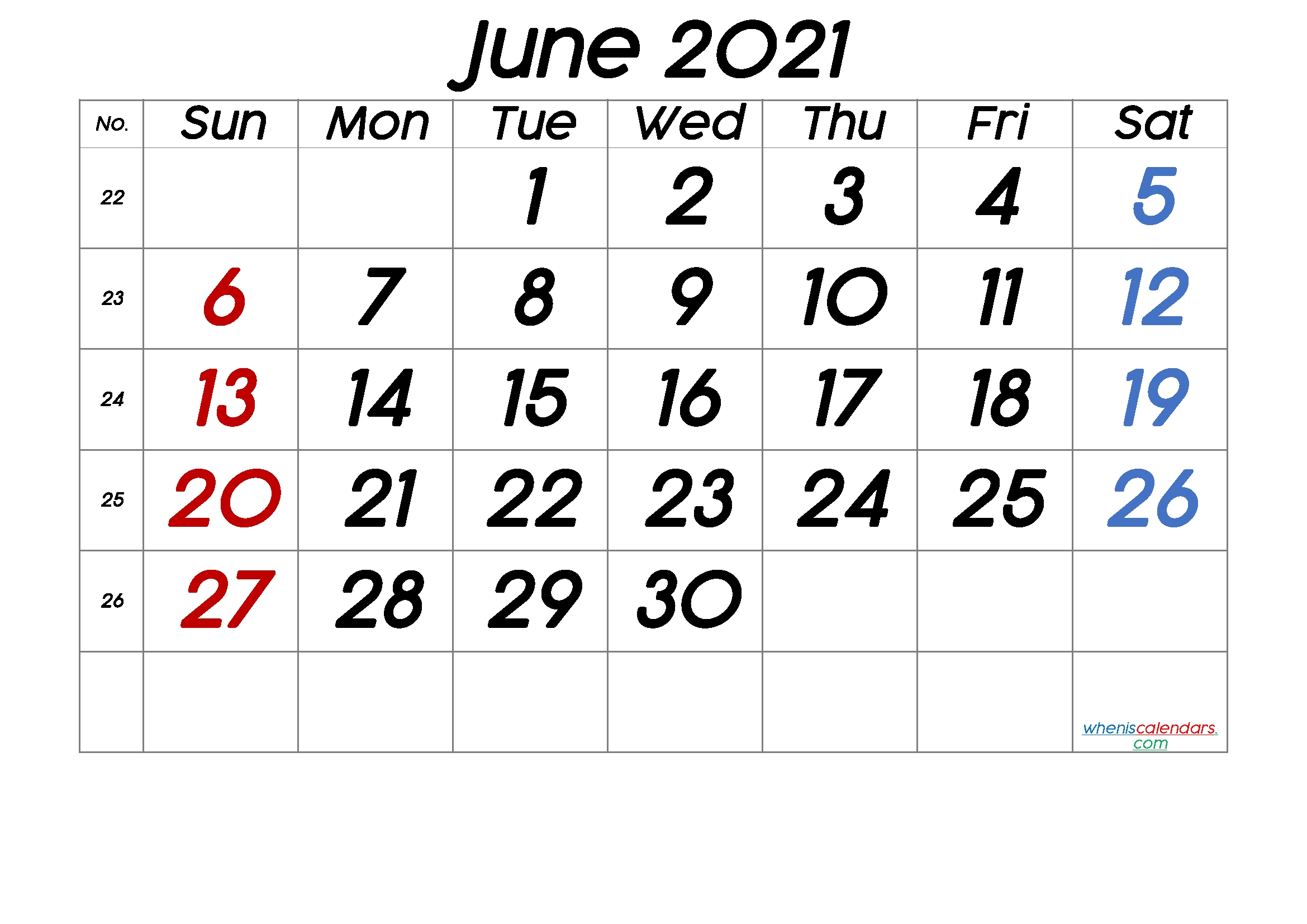 Free Printable June 2021 Calendar (Premium) June 2021 Calendar Printable