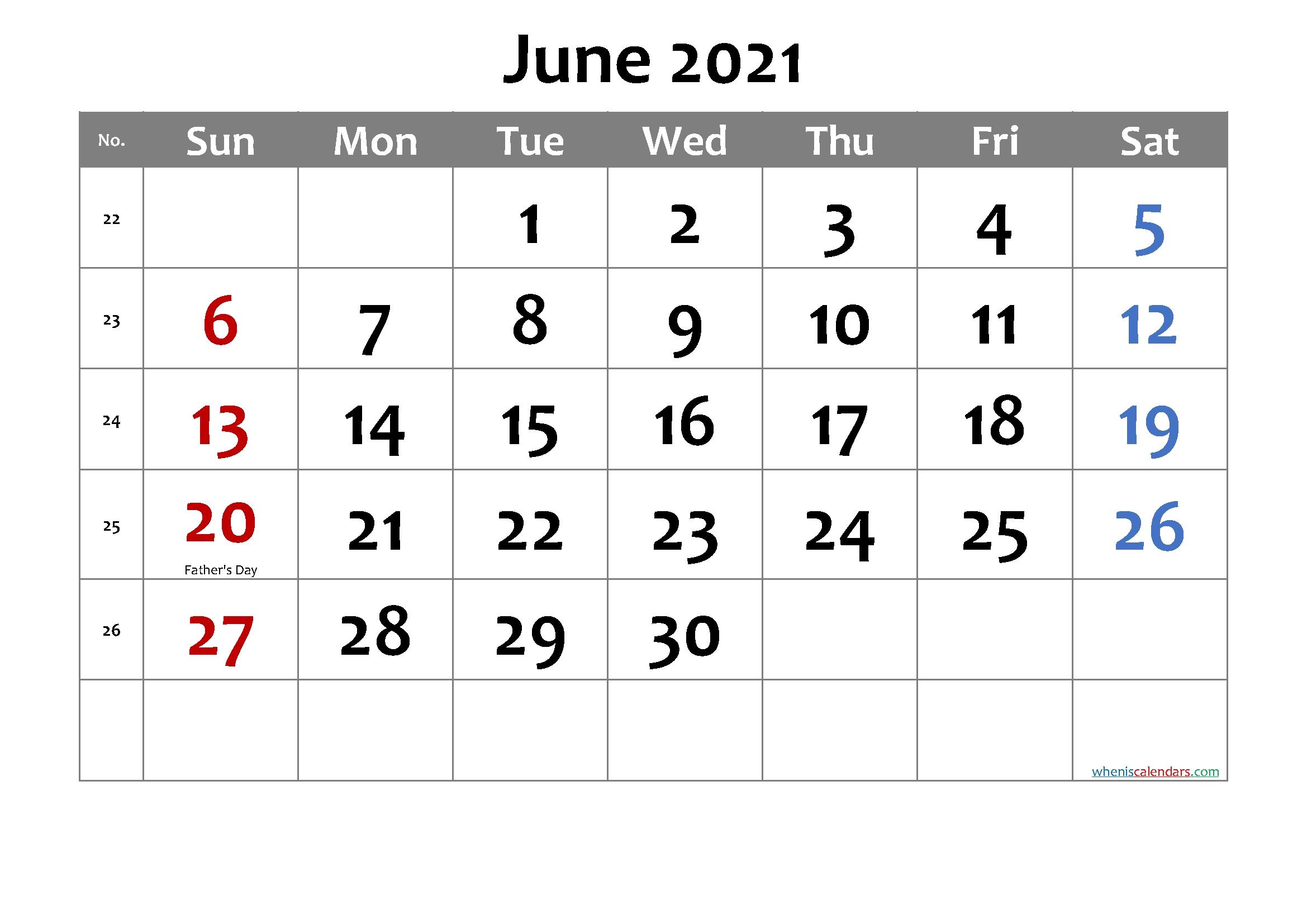 Free Printable June 2021 Calendar With Holidays Printable Calendar June July August 2021