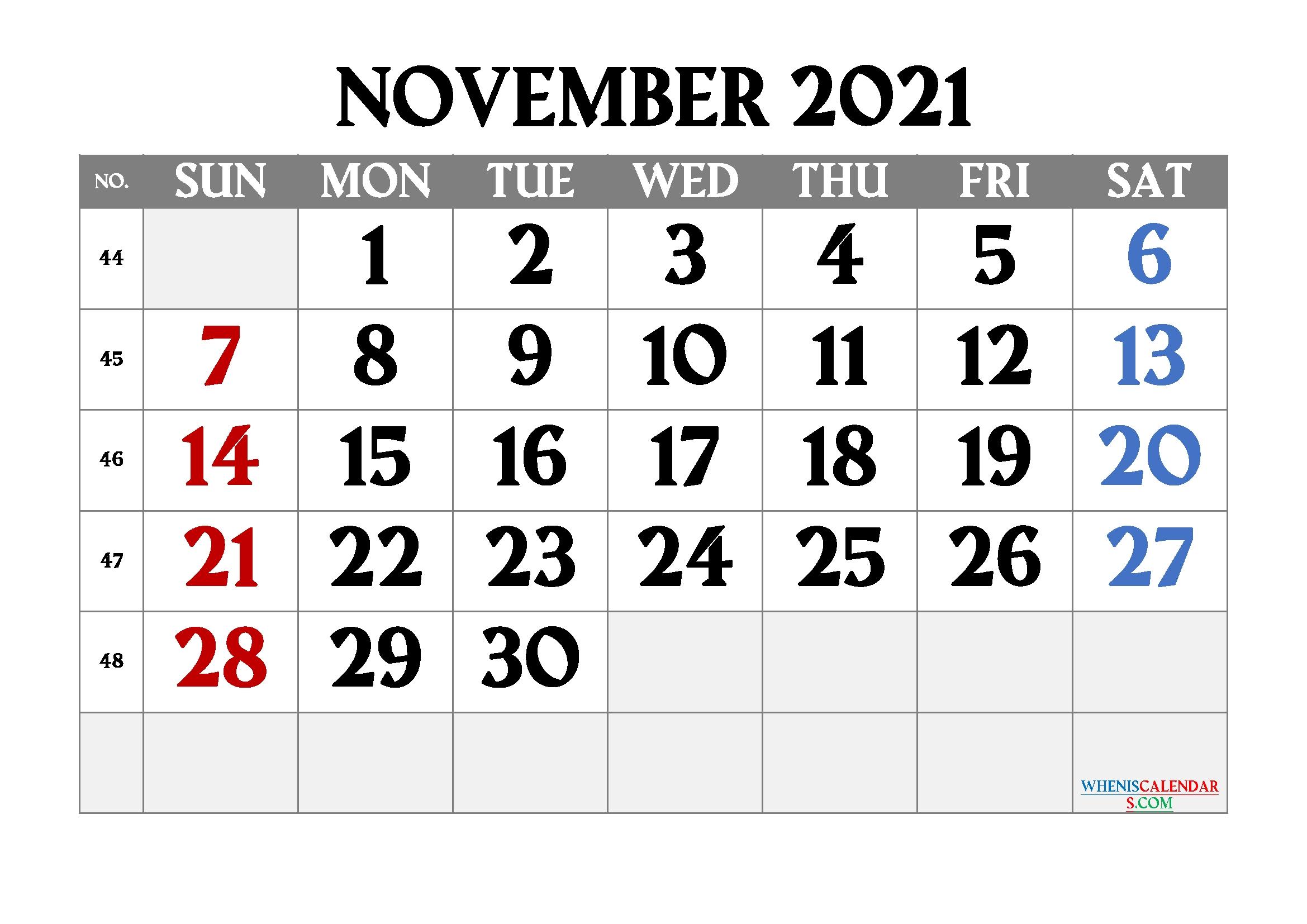 Free Printable November 2021 Calendar Free November 2021 Calendar