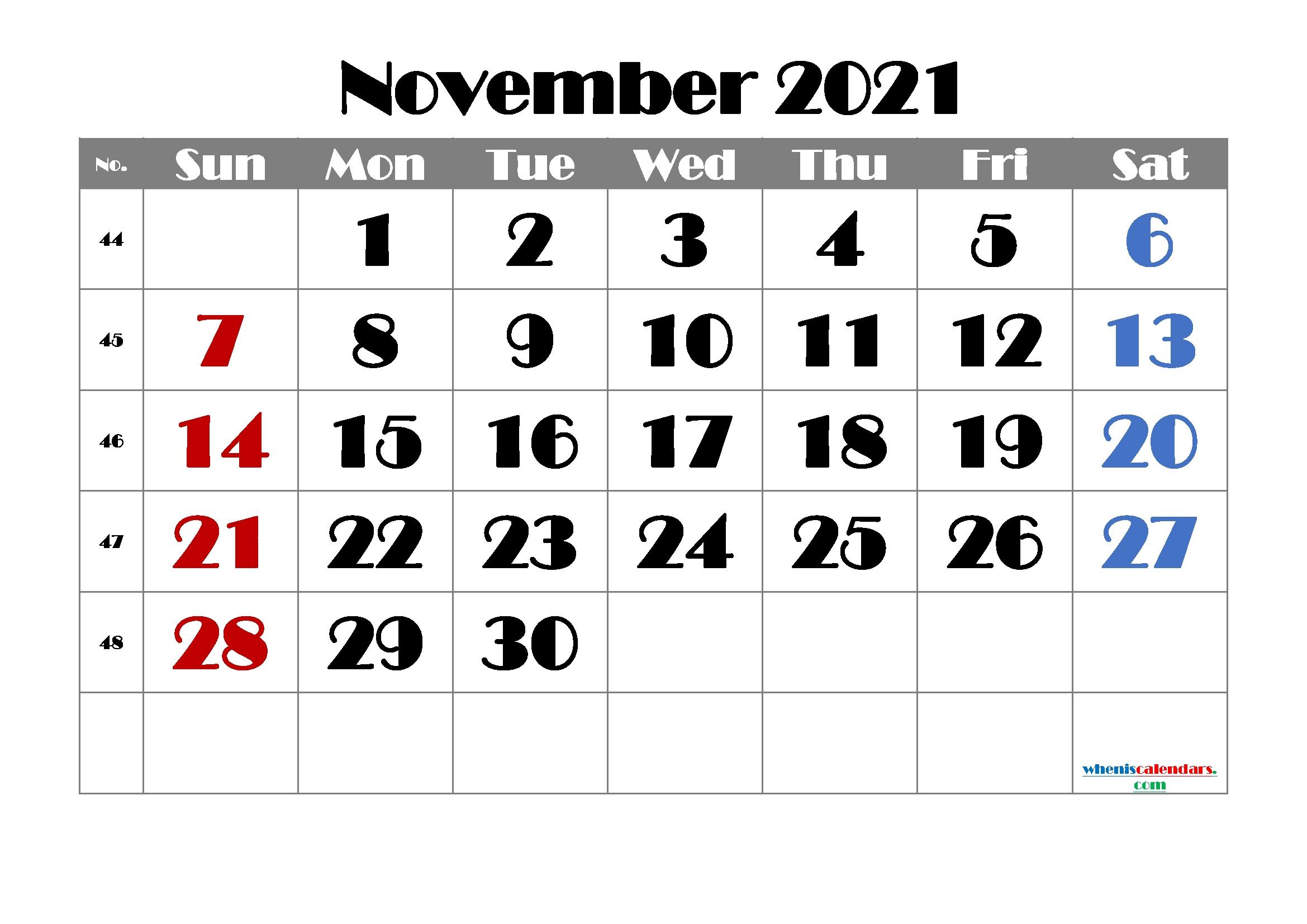 Free Printable November 2021 Calendar | Template M21Broadway1 - Free Printable 2020 Monthly Free Printable November 2021 Calendar With Holidays