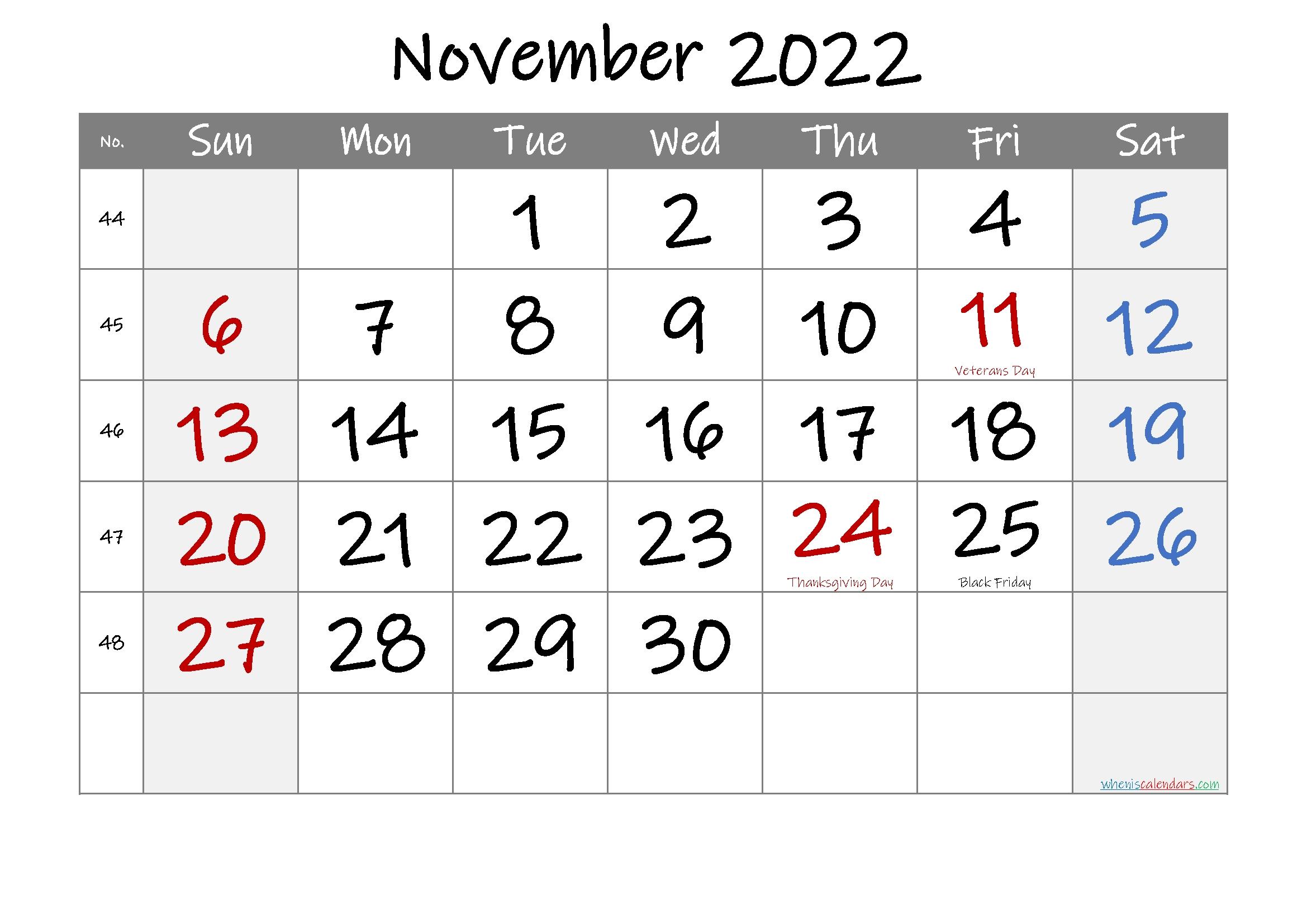 Free Printable November 2021 Calendar With Holidays Free November 2021 Calendar