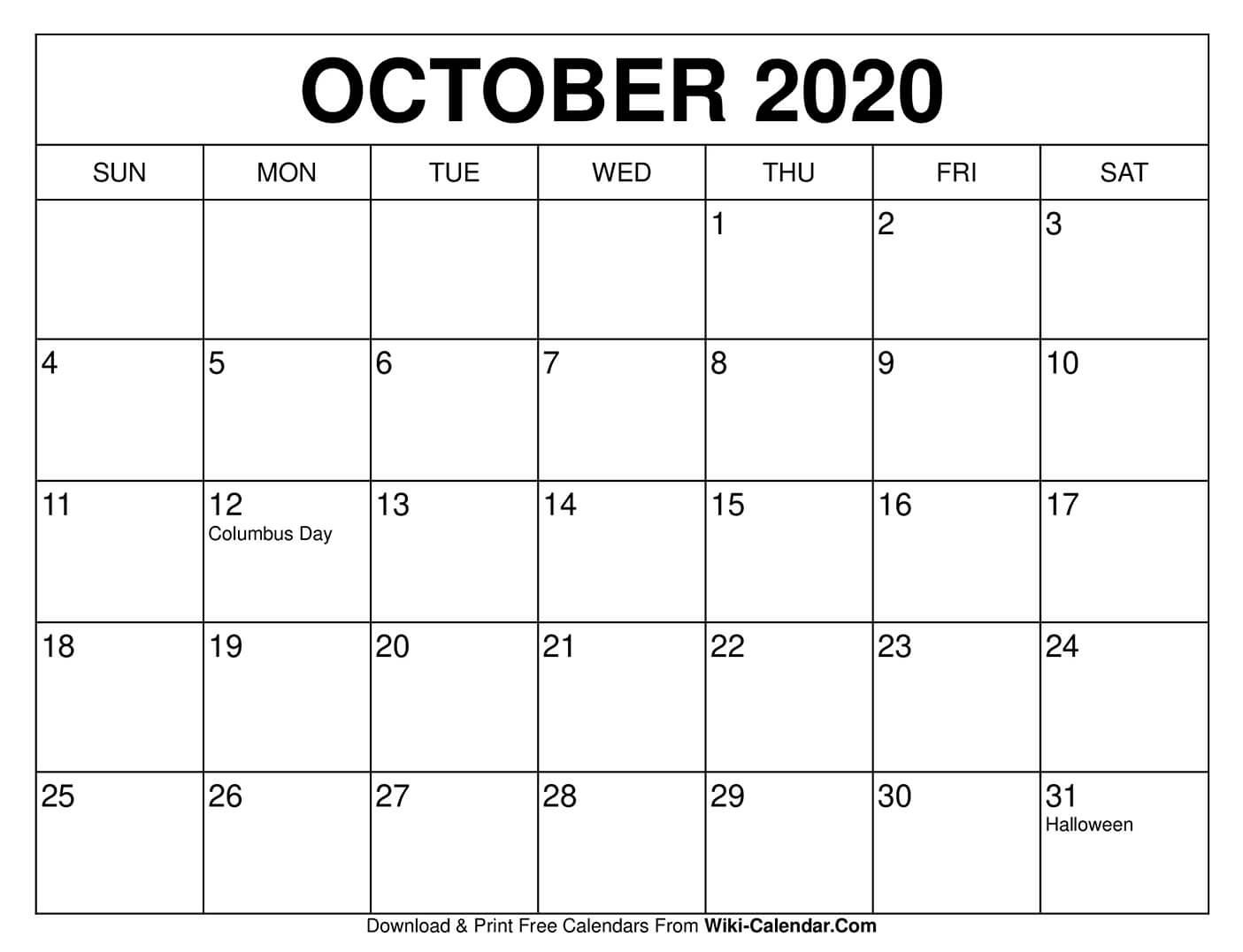 Free Printable October 2021 Calendars National Calendar October 2021