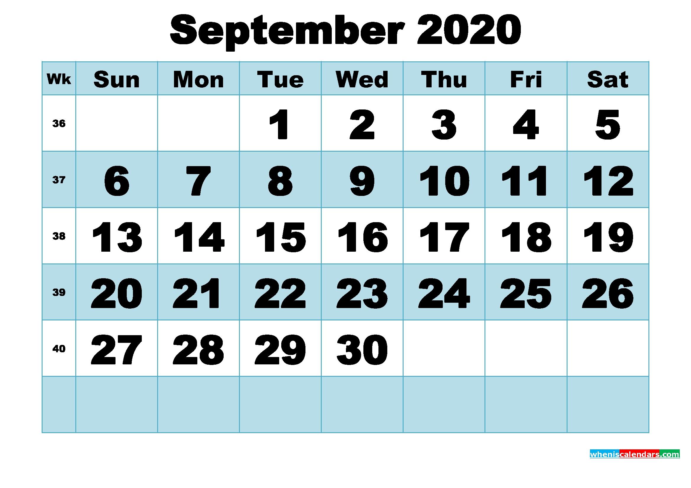 Free Printable September 2020 Calendar Word, Pdf, Image | Free Printable 2020 Calendar With Holidays September 2020 To September 2021 Calendar