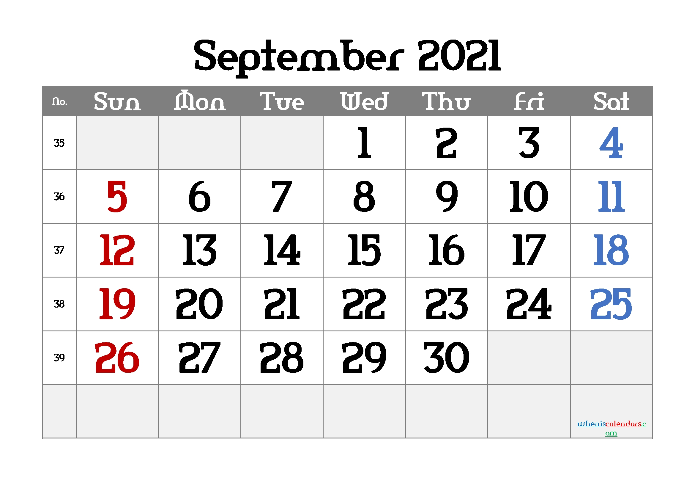 Free Printable September 2021 Calendar September 2021 Calendar With Holidays Printable