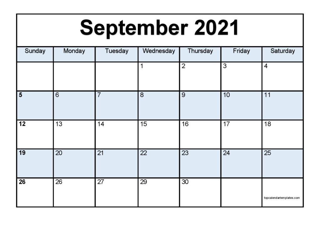 Free September 2021 Printable Calendar - Monthly Templates Printable September 2021 Calendar